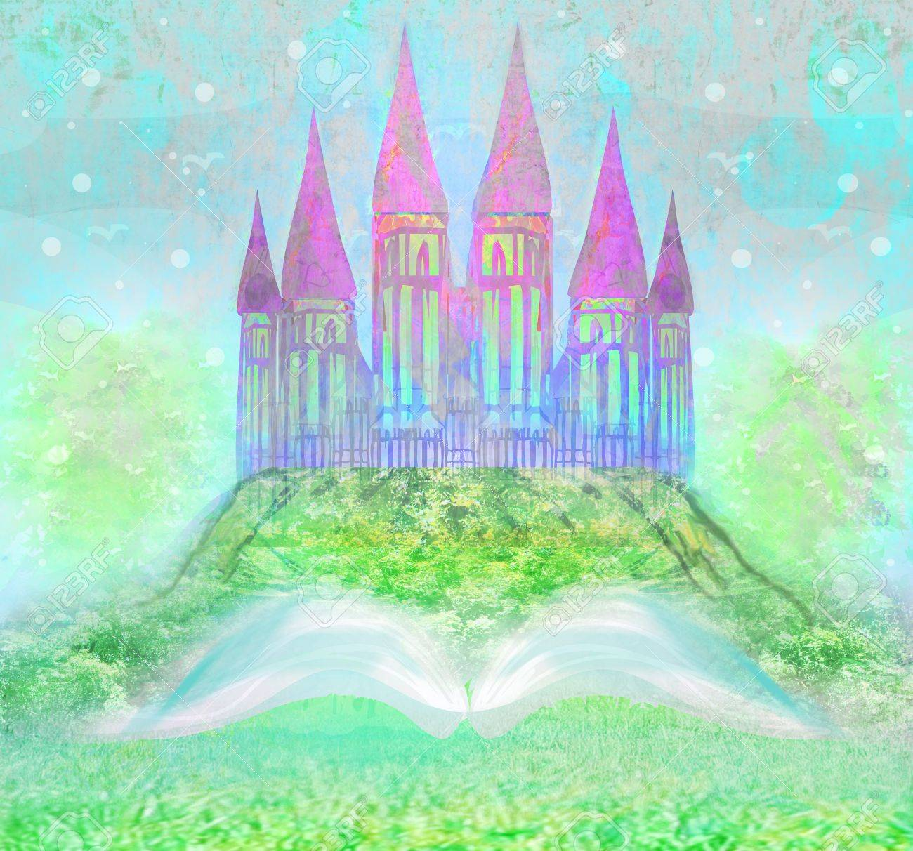 Magic world of tales, fairy castle appearing from the book Stock Photo - 20884296