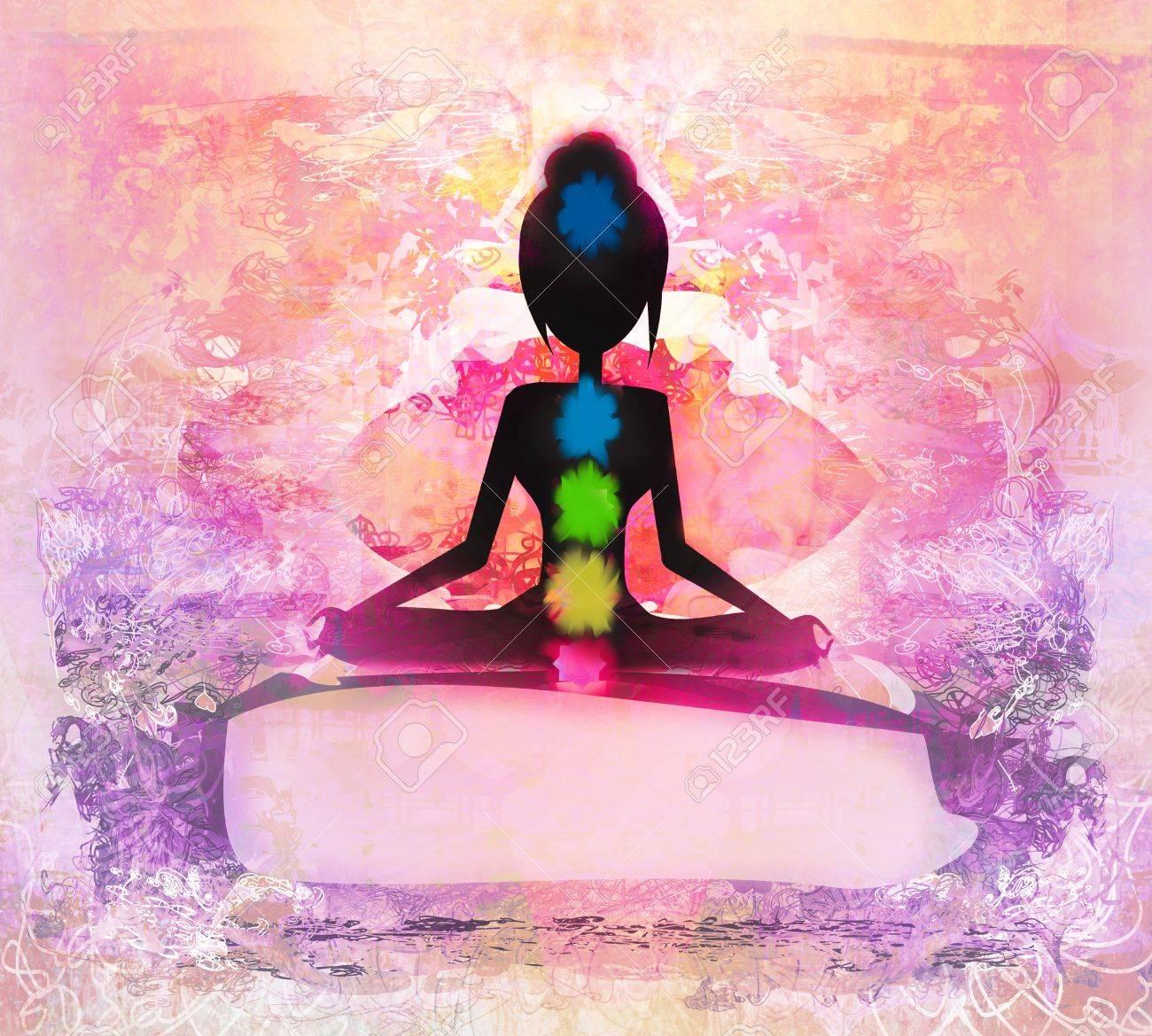 Yoga lotus pose. Padmasana with colored chakra points. Stock Photo - 20884319
