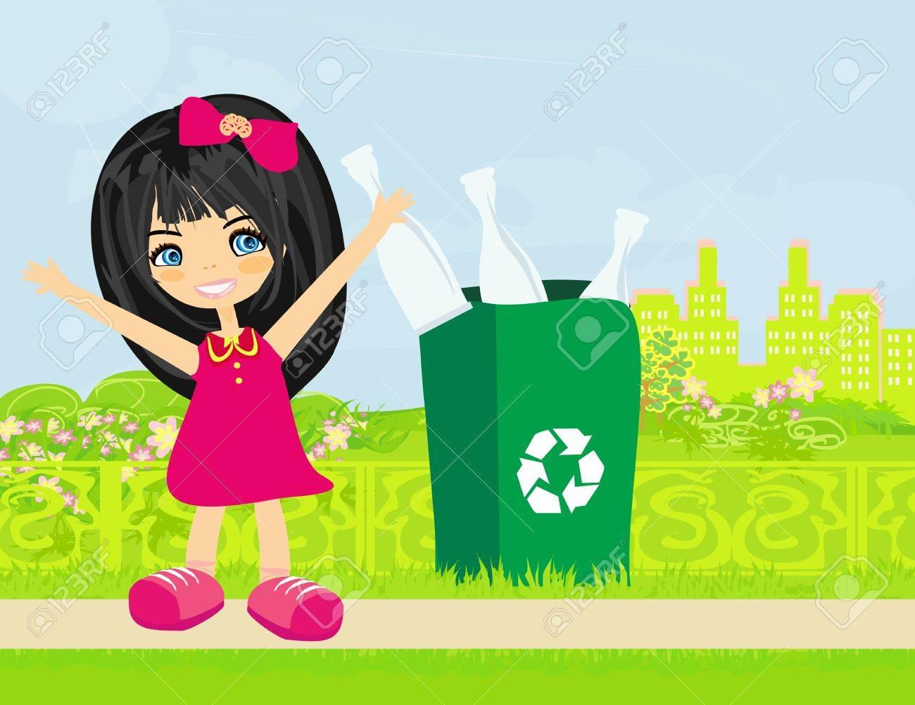 Girl recycling bottles - 20911483