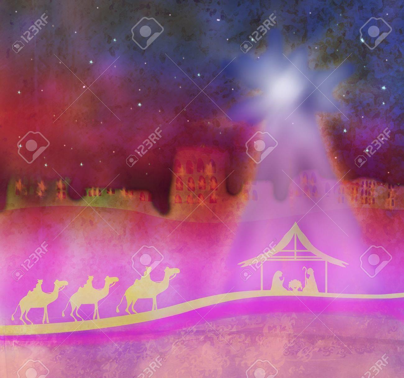 Biblical scene - birth of Jesus in Bethlehem. Stock Photo - 21724244