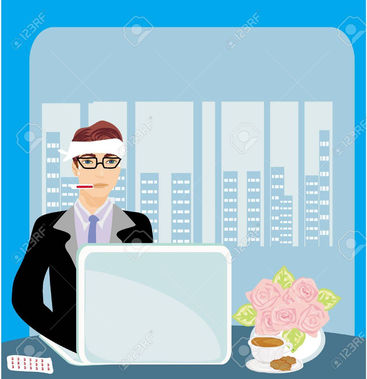 workaholic sick in the office Stock Vector - 21845265