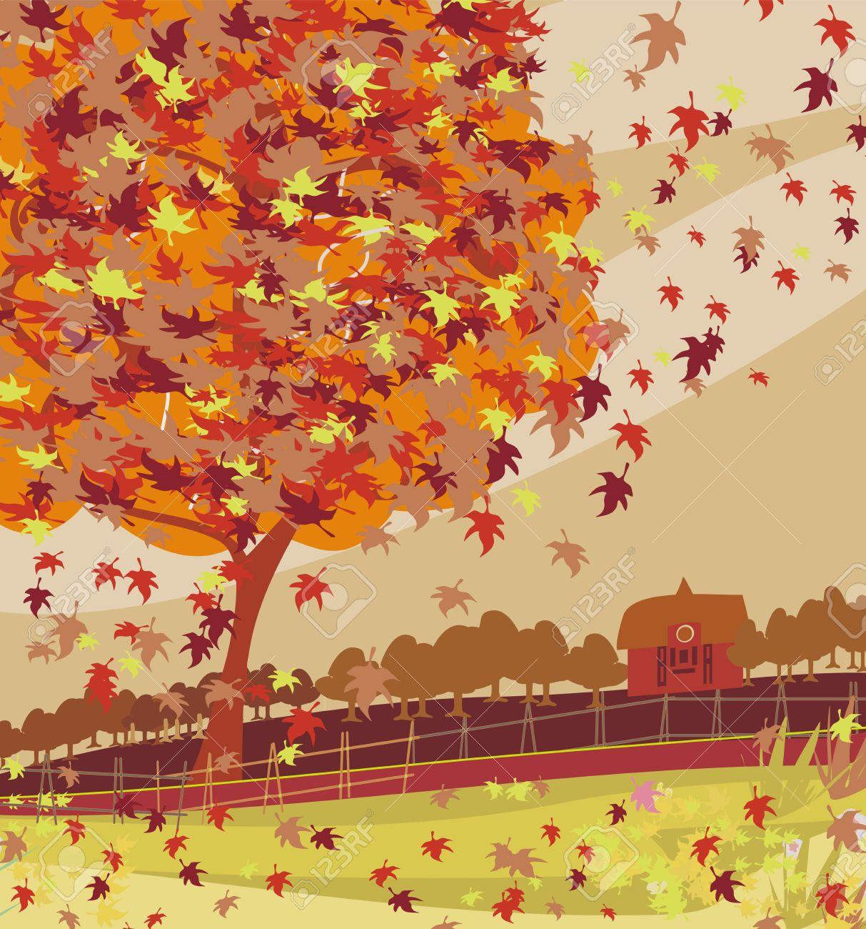 Autumn rural landscape illustration - 22269570