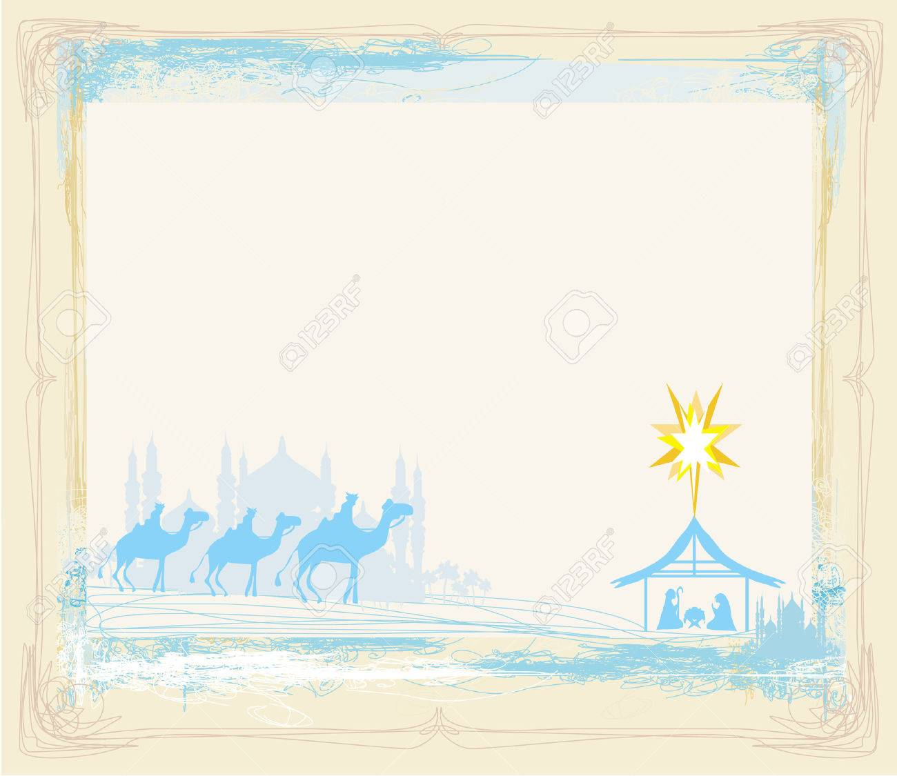 grunge frame with traditional Christian Christmas Nativity scene with the three wise men - 22269606