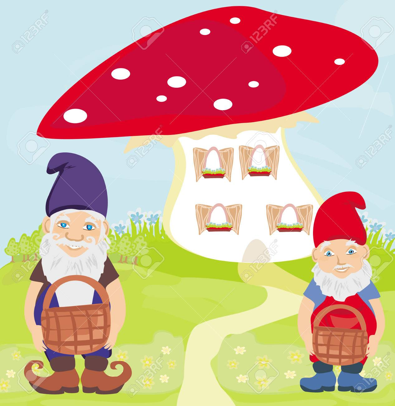 funny cartoon mushroom house and two funny gnomes royalty free