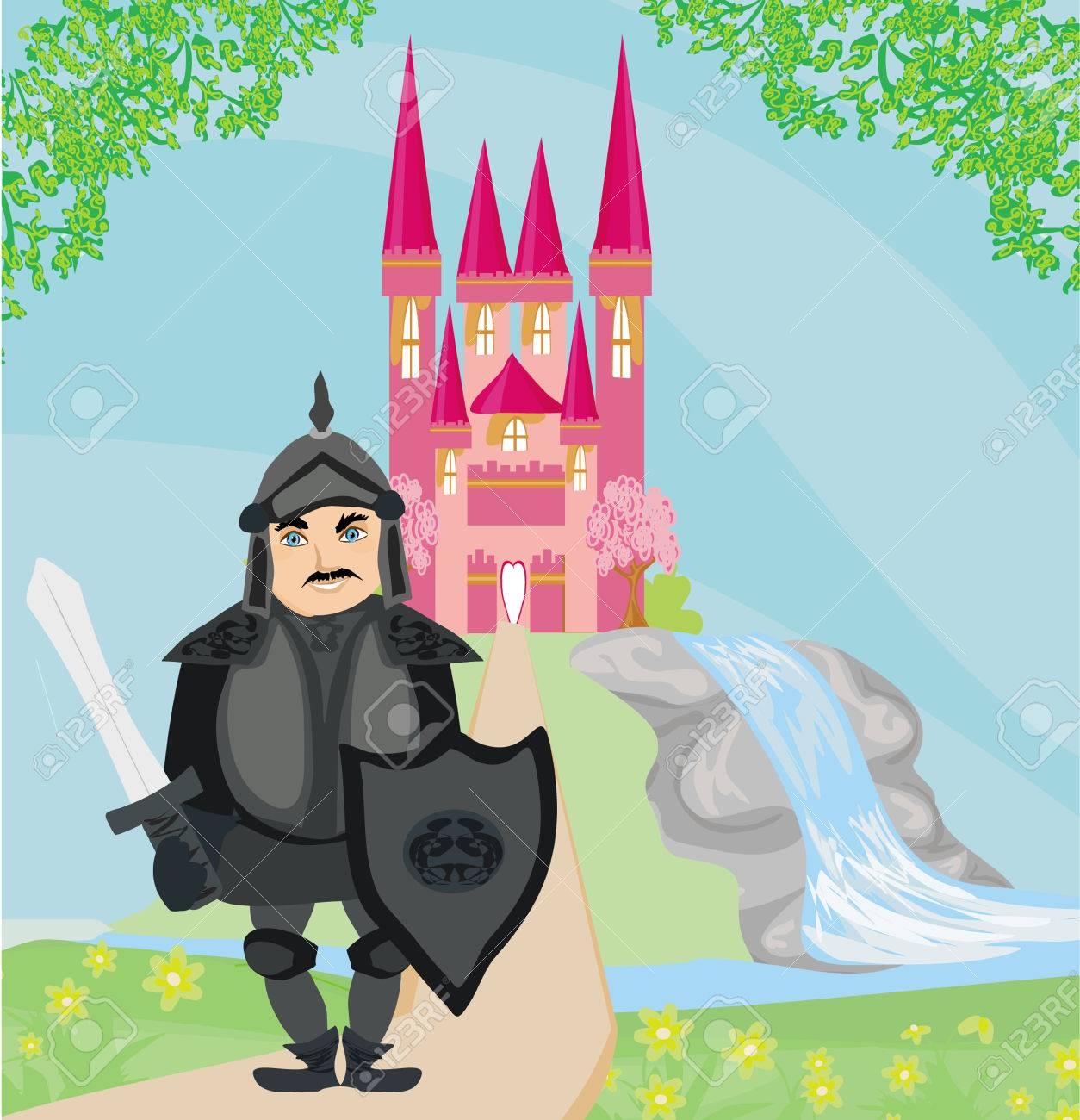 Knight guarding the entrance to the castle Stock Vector - 24508978