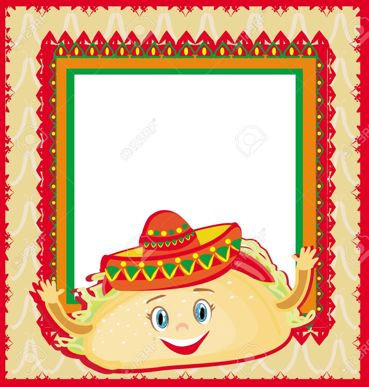 Divertidos Tacos Carácter, Tarjeta Del Marco Mexicano Ilustraciones ...