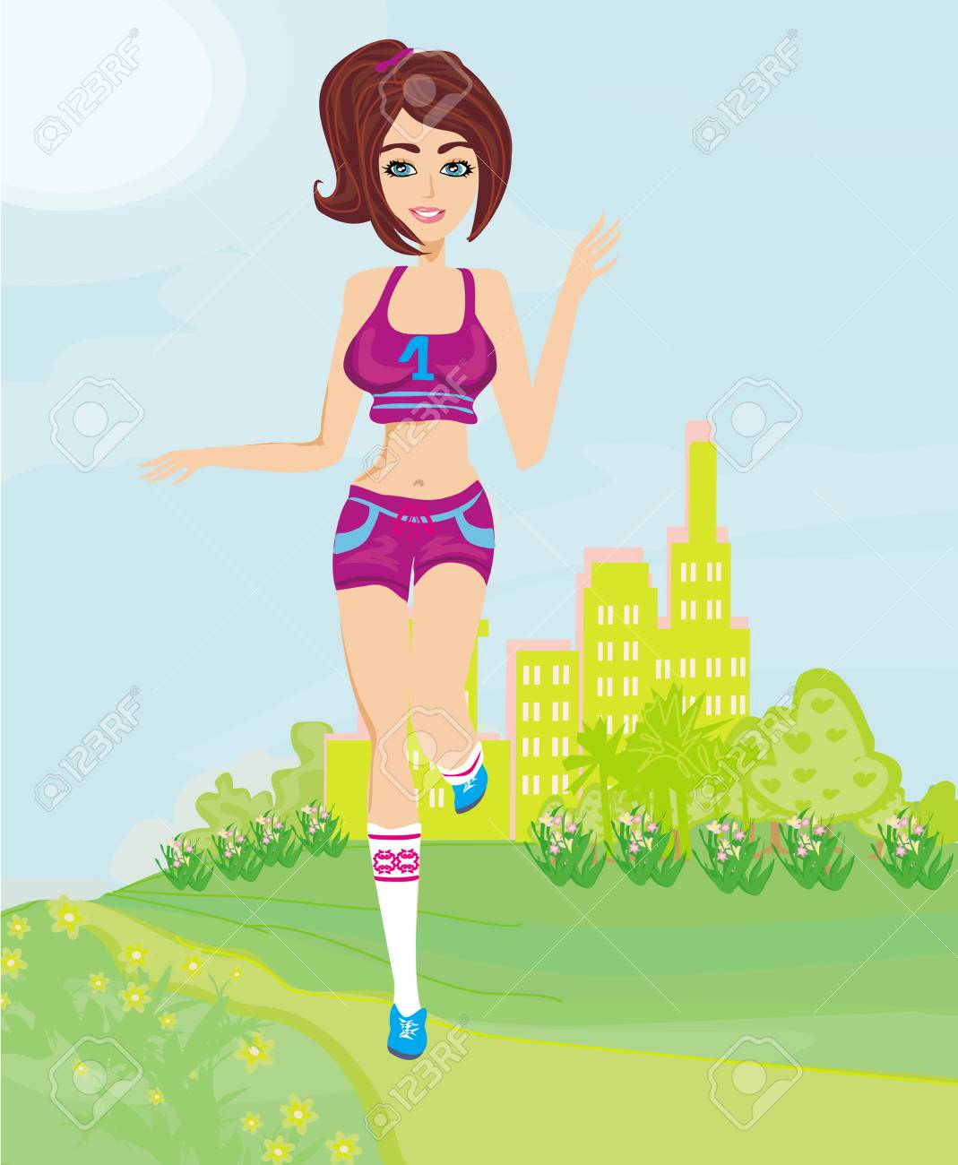 Jogging girl in summer Stock Vector - 24975179