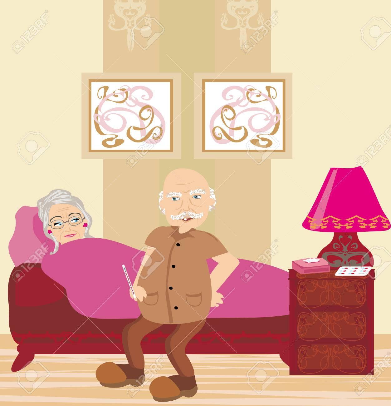 elderly sick woman lying in bed Stock Vector - 25516203