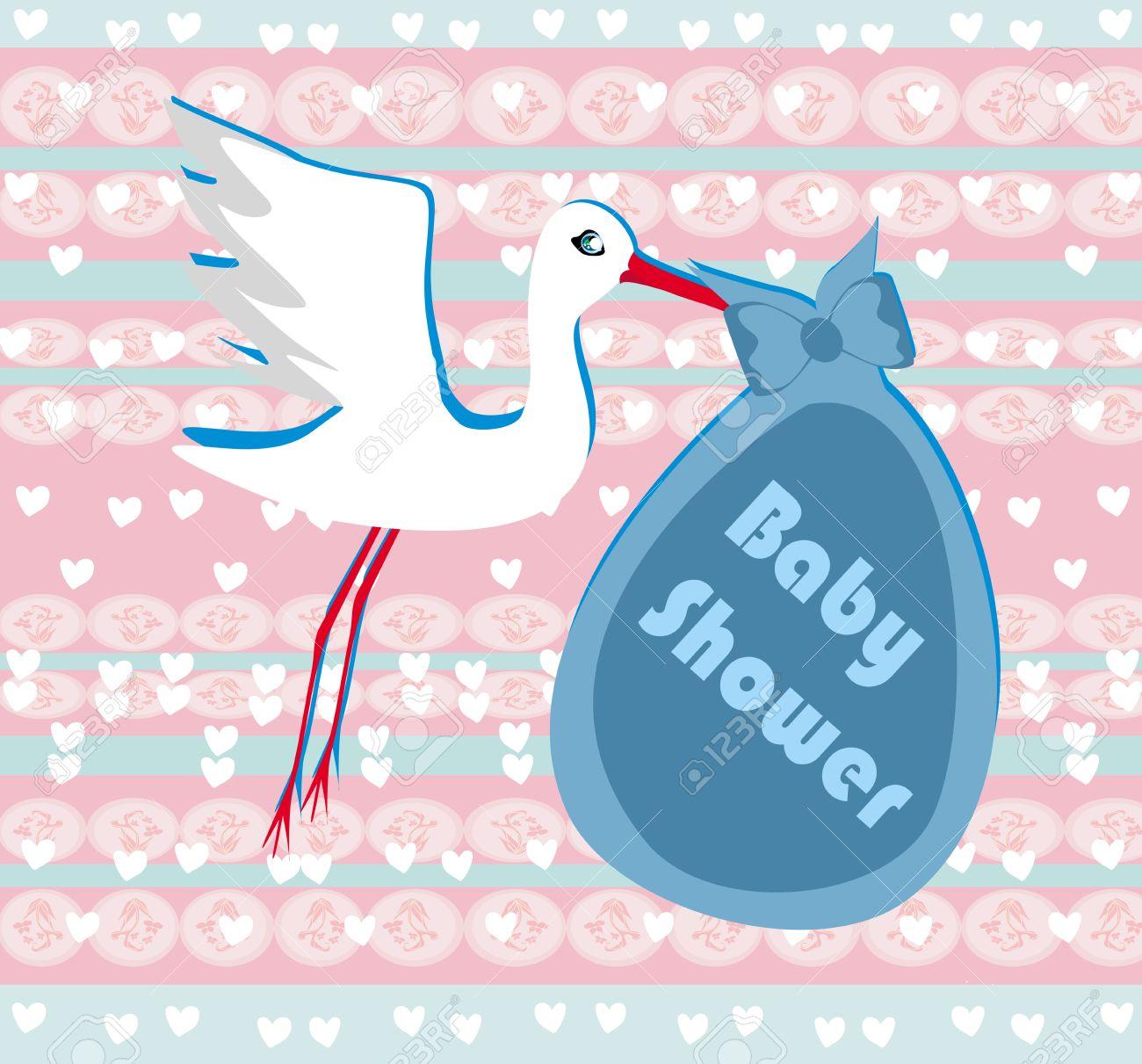 Babyparty Einladung Vorlage   Baby Boy Ankunft Ankündigung Karte  Lizenzfreie Bilder   25743827