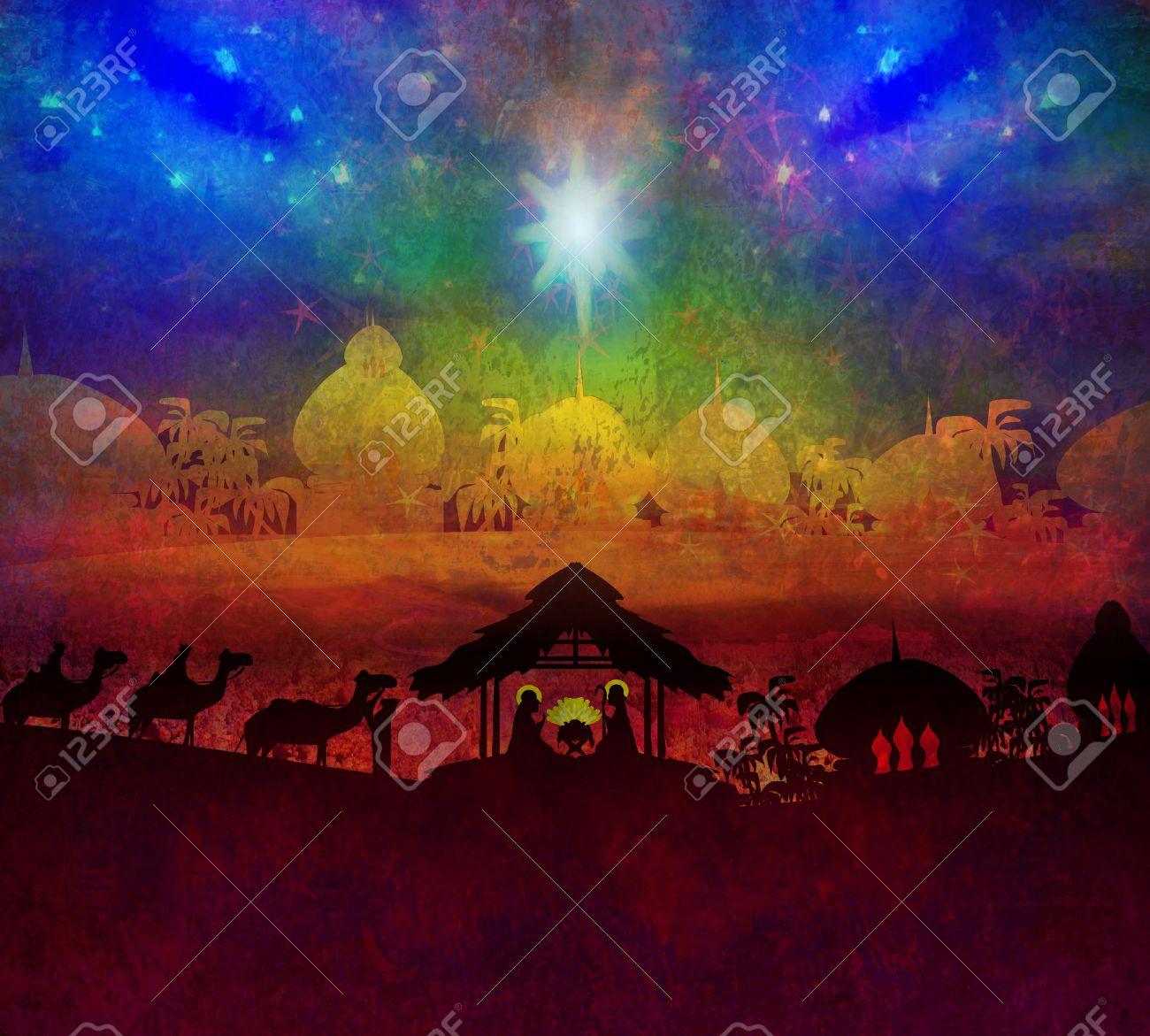 Biblical scene - birth of Jesus in Bethlehem. - 26972084