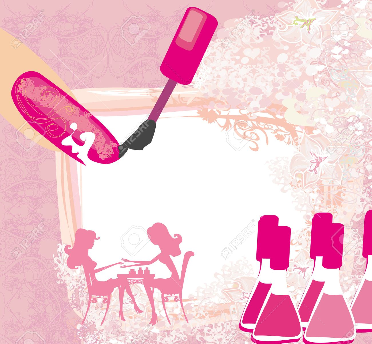 manicure in beauty salon , abstract card - 28100166