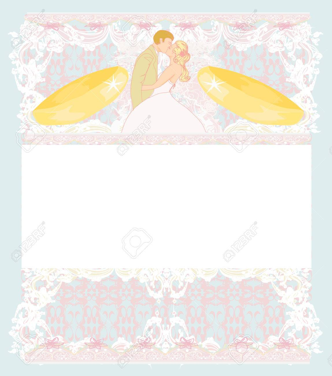 Stylish Wedding Invitation Card With Vintage Ornament Background ...