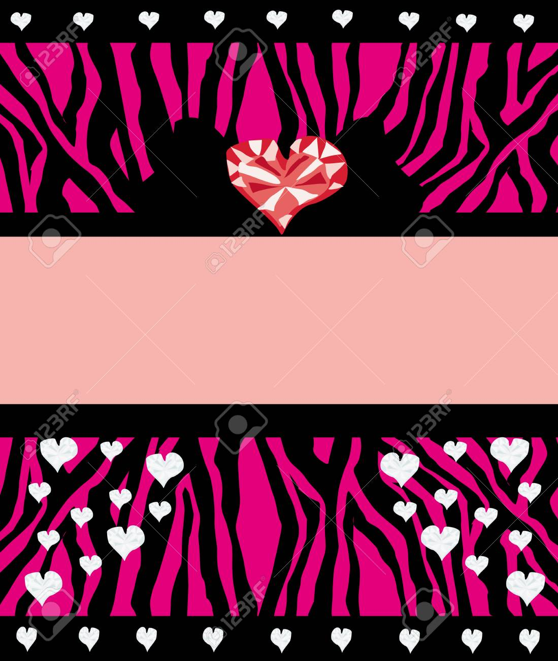 Invitation Cards Template With Abstract Diamond Hearts And Zebra ...