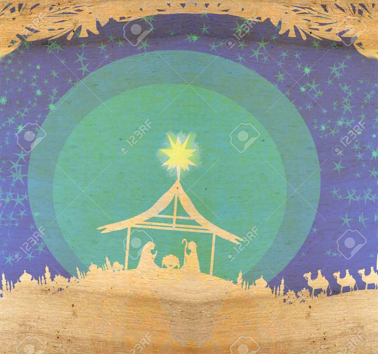 Biblical scene - birth of Jesus in Bethlehem. - 32060988