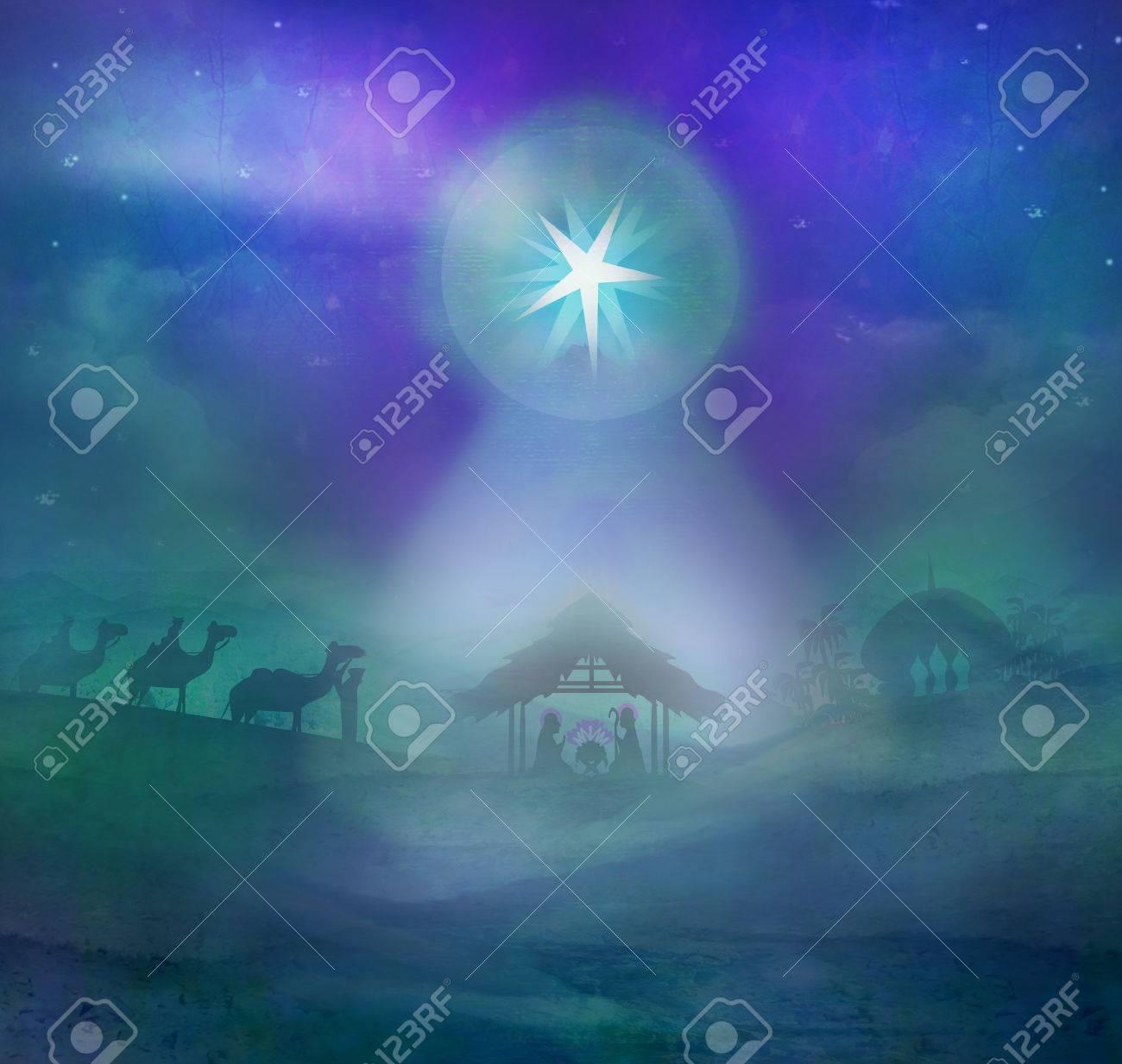 Biblical scene - birth of Jesus in Bethlehem. - 33571206