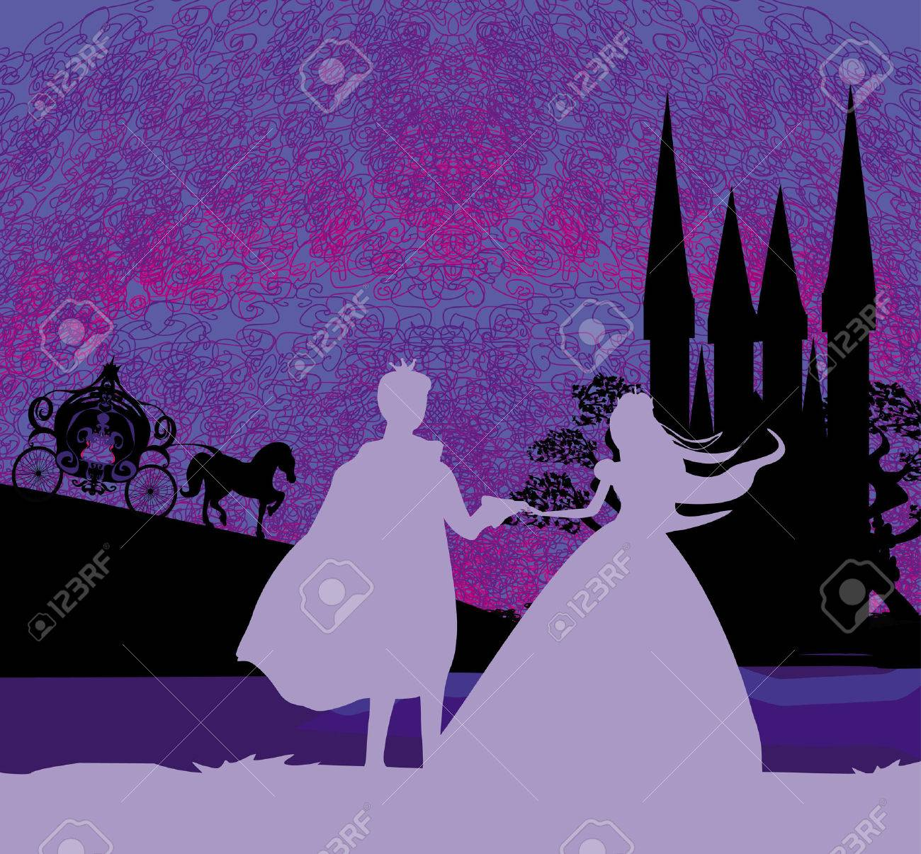 Magic castle and princess with prince - 33796804