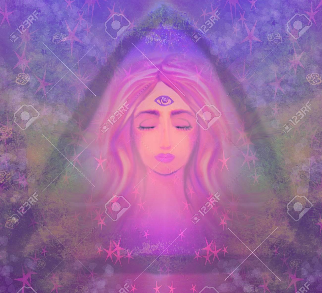 Woman with third eye, psychic supernatural senses - 34600178