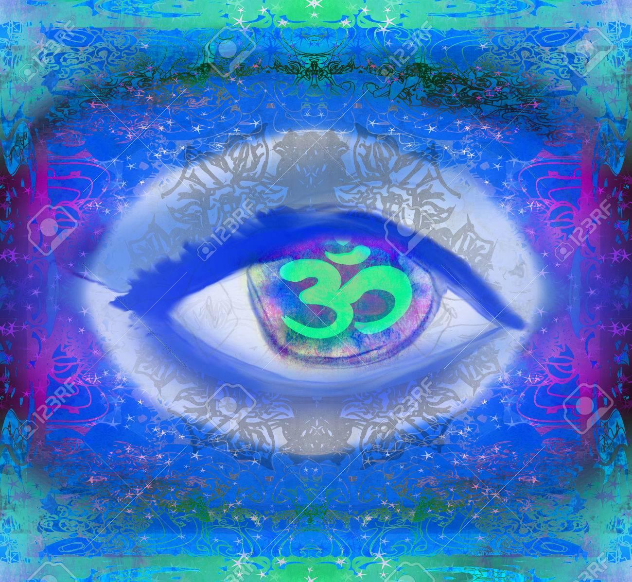 illustration of a third eye mystical sign - 50177356