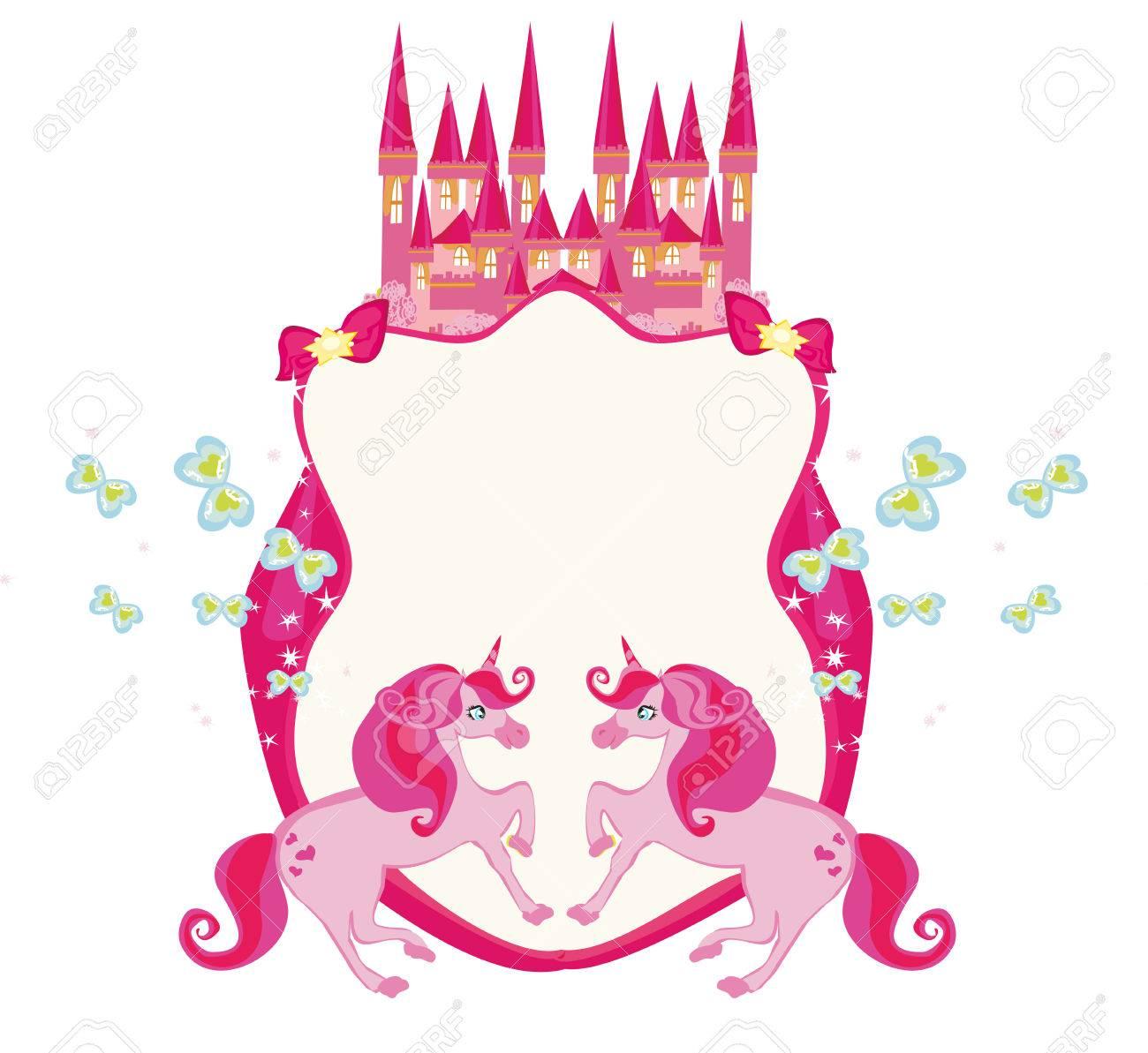 Marco De Cuento De Hadas Con El Castillo Mágico De Color Rosa Y ...
