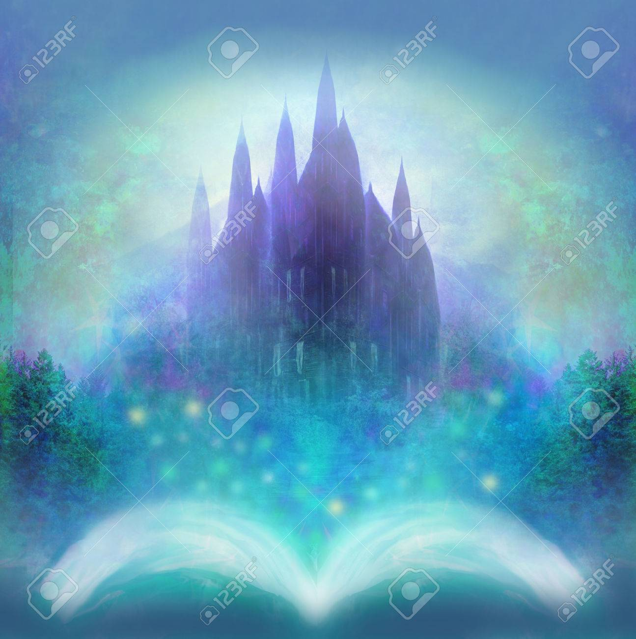 Magic world of tales, fairy castle appearing from the book - 57824889