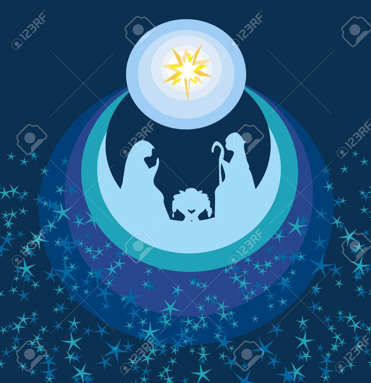 abstract Christmas card - birth of Jesus in Bethlehem. - 60942580