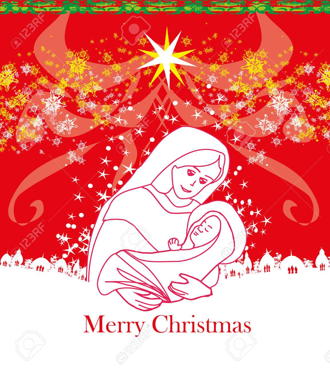 Madonna And Child Jesus - Christmas Card Royalty Free Cliparts ...