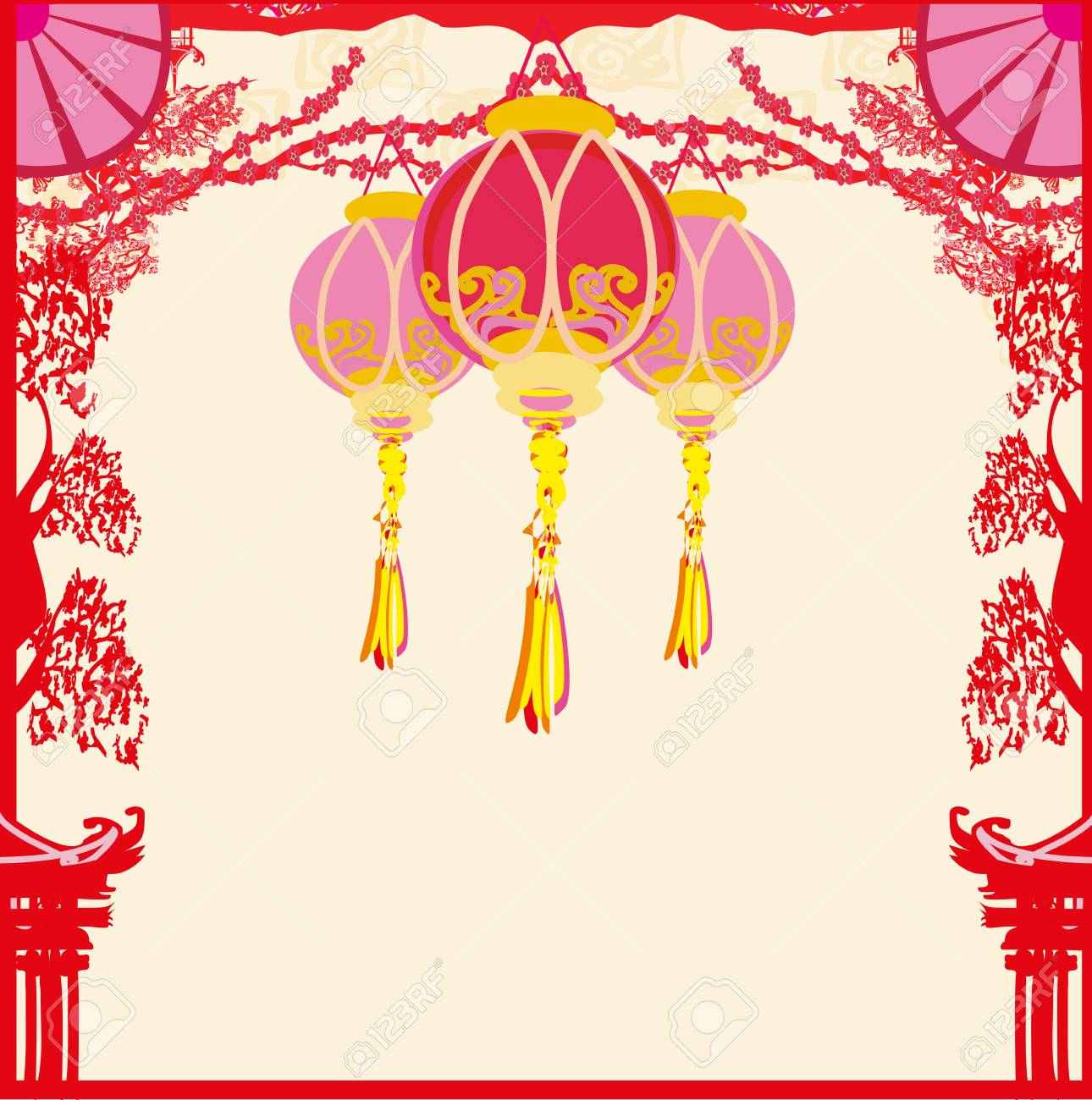 Mid-Autumn Festival For Chinese New Year Card Royalty Free Cliparts ...