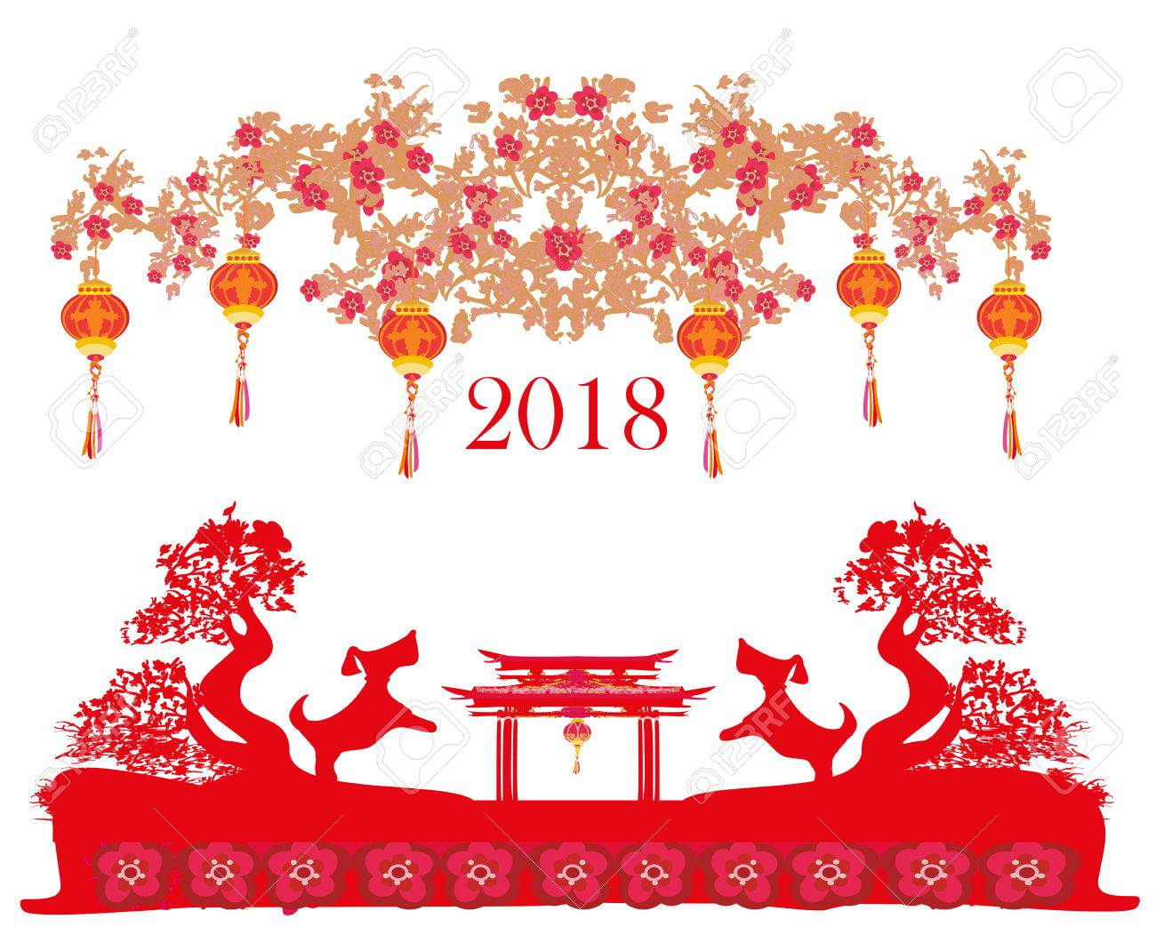 Happy Chinese New Year 2018 Card, Year Of The Dog Royalty Free ...