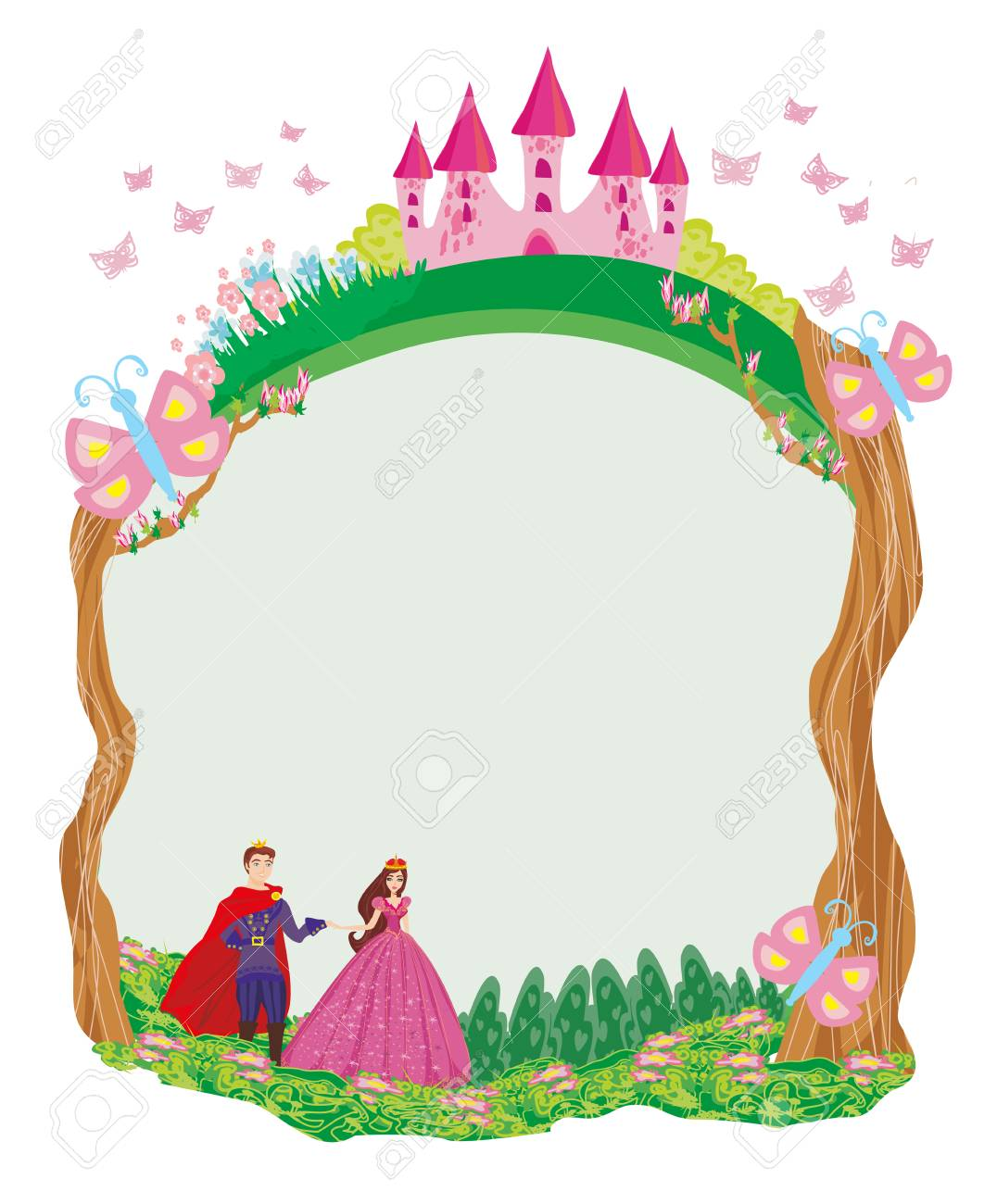 Beautiful Prince And Princess In The Garden - Frame Royalty Free ...