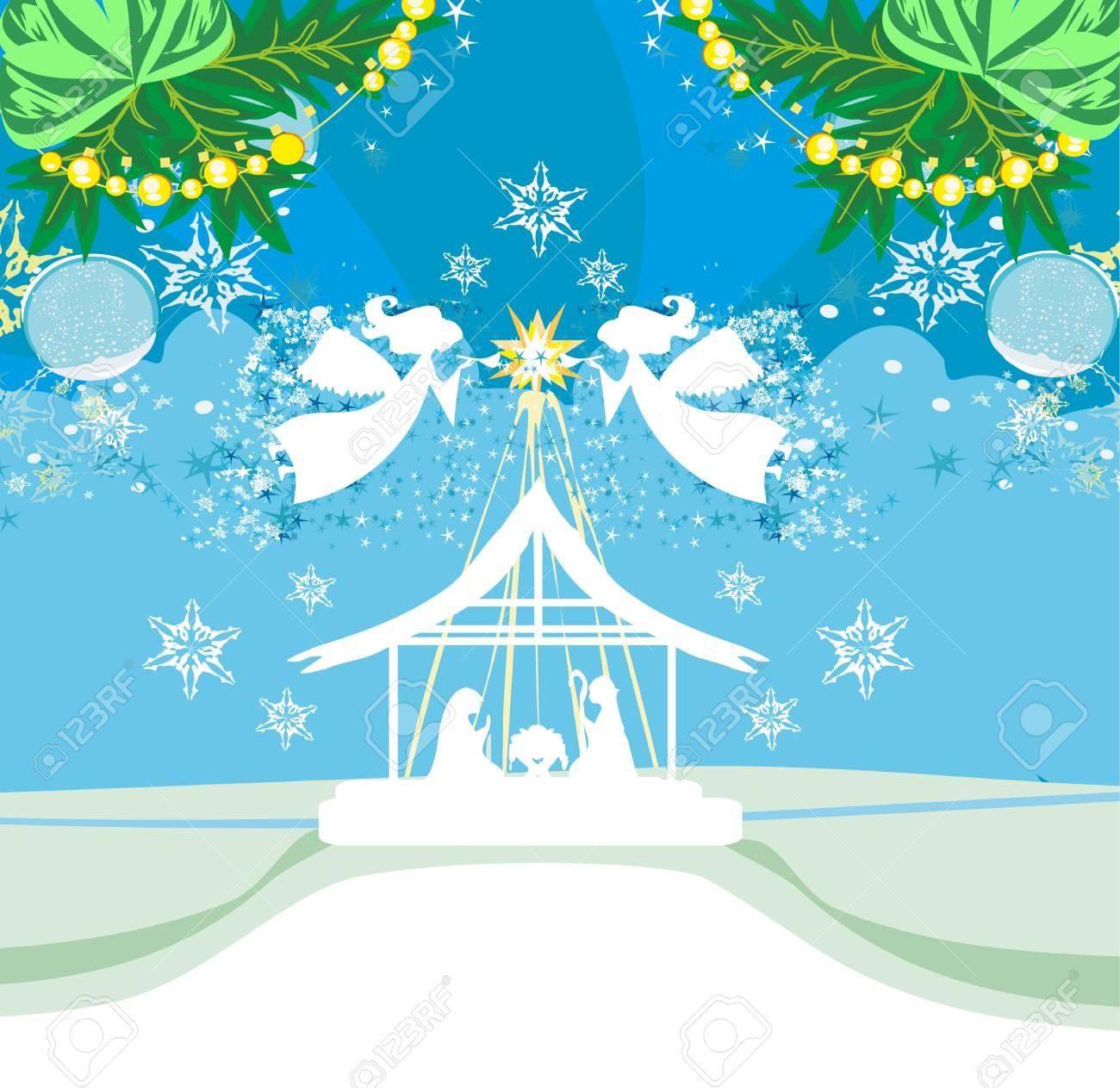 Christmas Angels.Christmas Angels Christmas Religious Nativity Scene Card