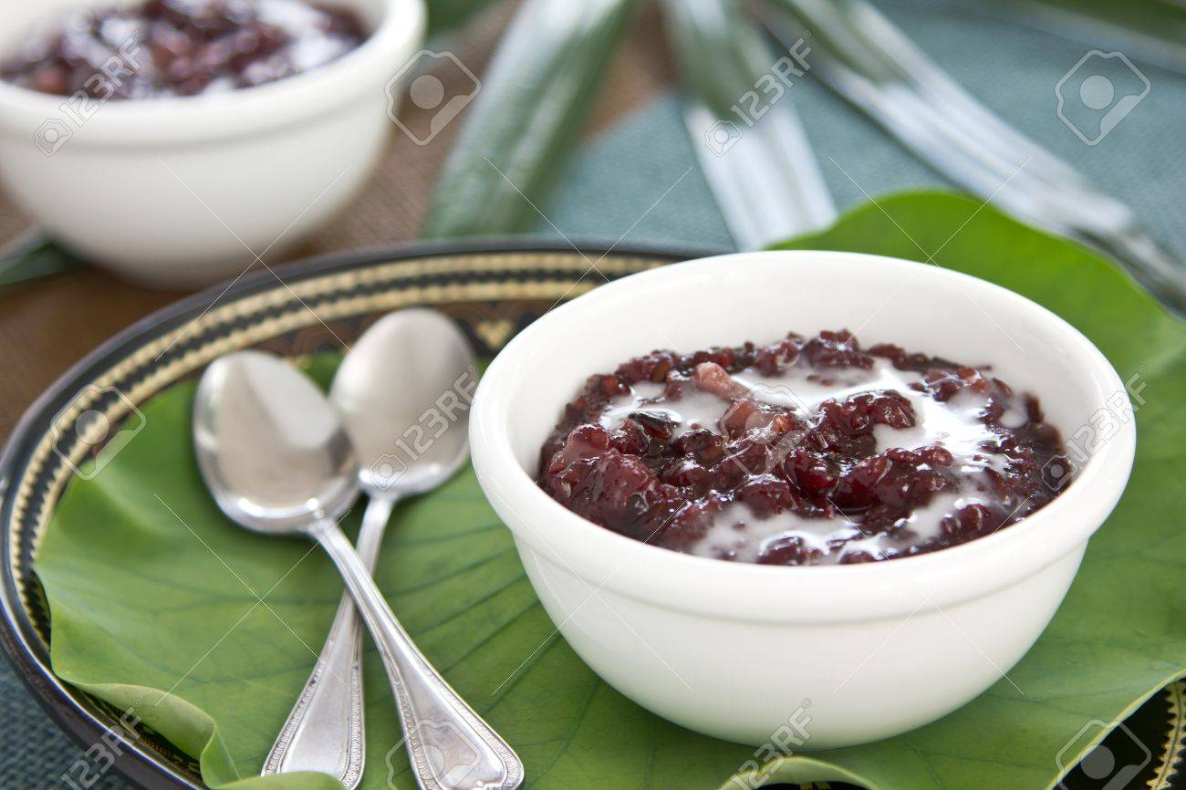 Black Sticky Rice With Coconut Milk Thai Dessert Stock Photo 12806173 Black  Sticky Rice With Coconut