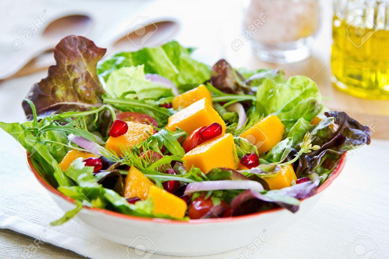 Rocket Salad Mango With Pomegranate Lettuce And Rocket Salad