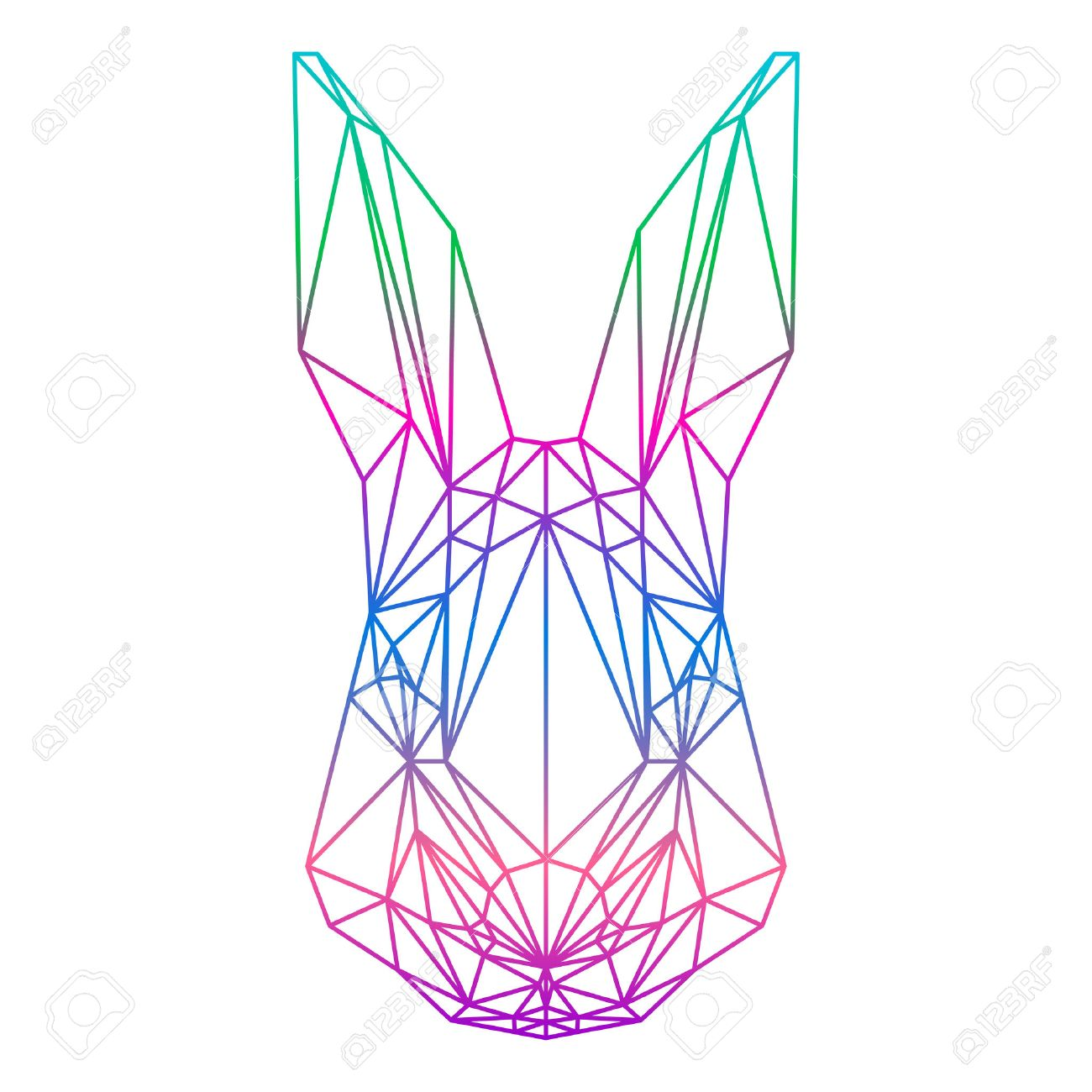 Polygonal Abstract Rabbit Silhouette Drawn In One Continuous Line Isolated On A White Backgrounds Stock Vector