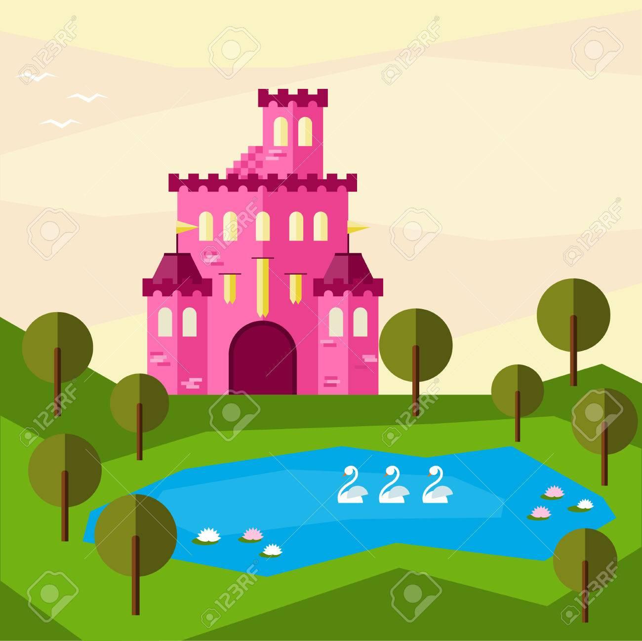 Illustration Graphique Lumineux Avec Rose Dessin Anime Chateau De