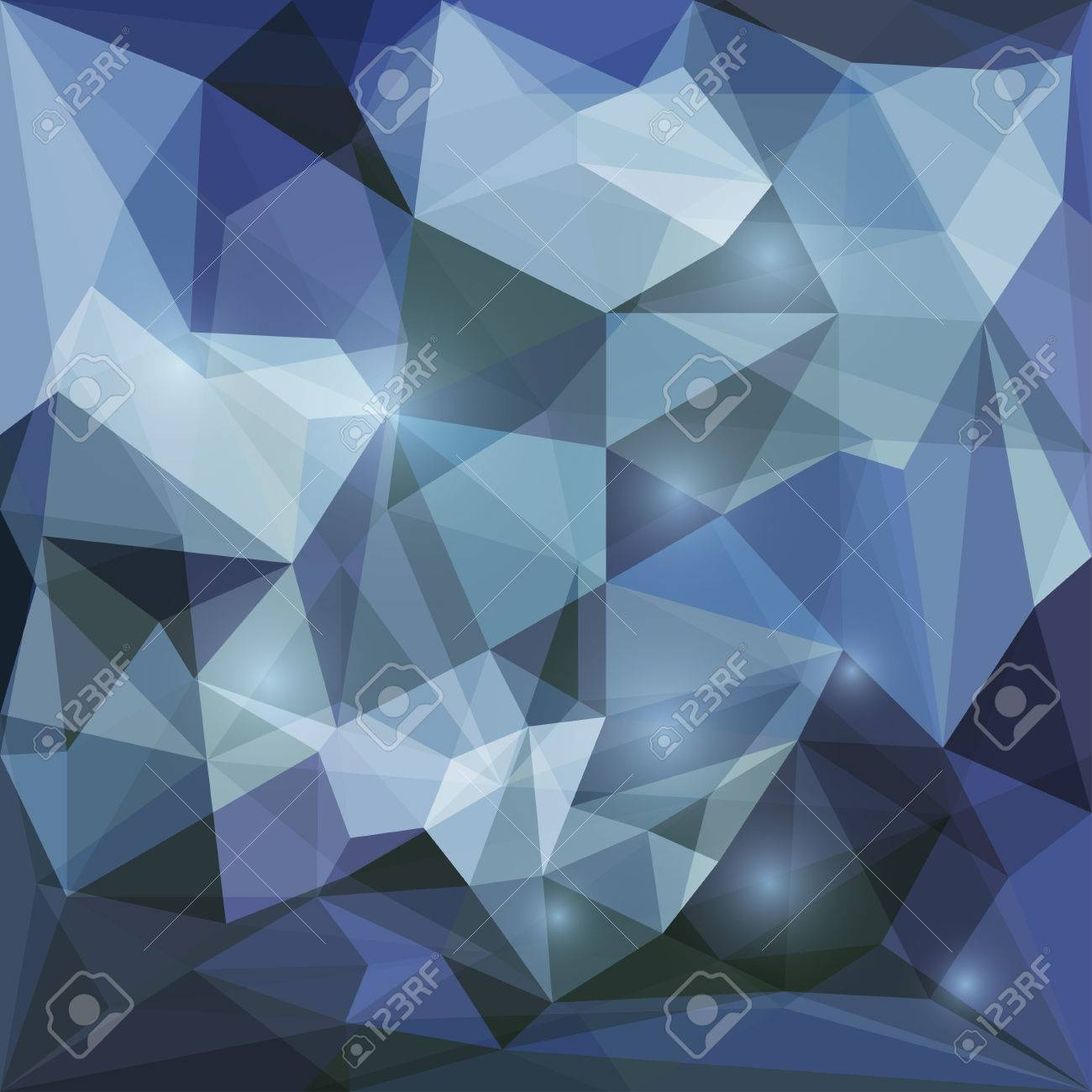 Abstract Dark Blue Polygonal Vector Triangular Geometric Background With Glaring Lights For Use In Design