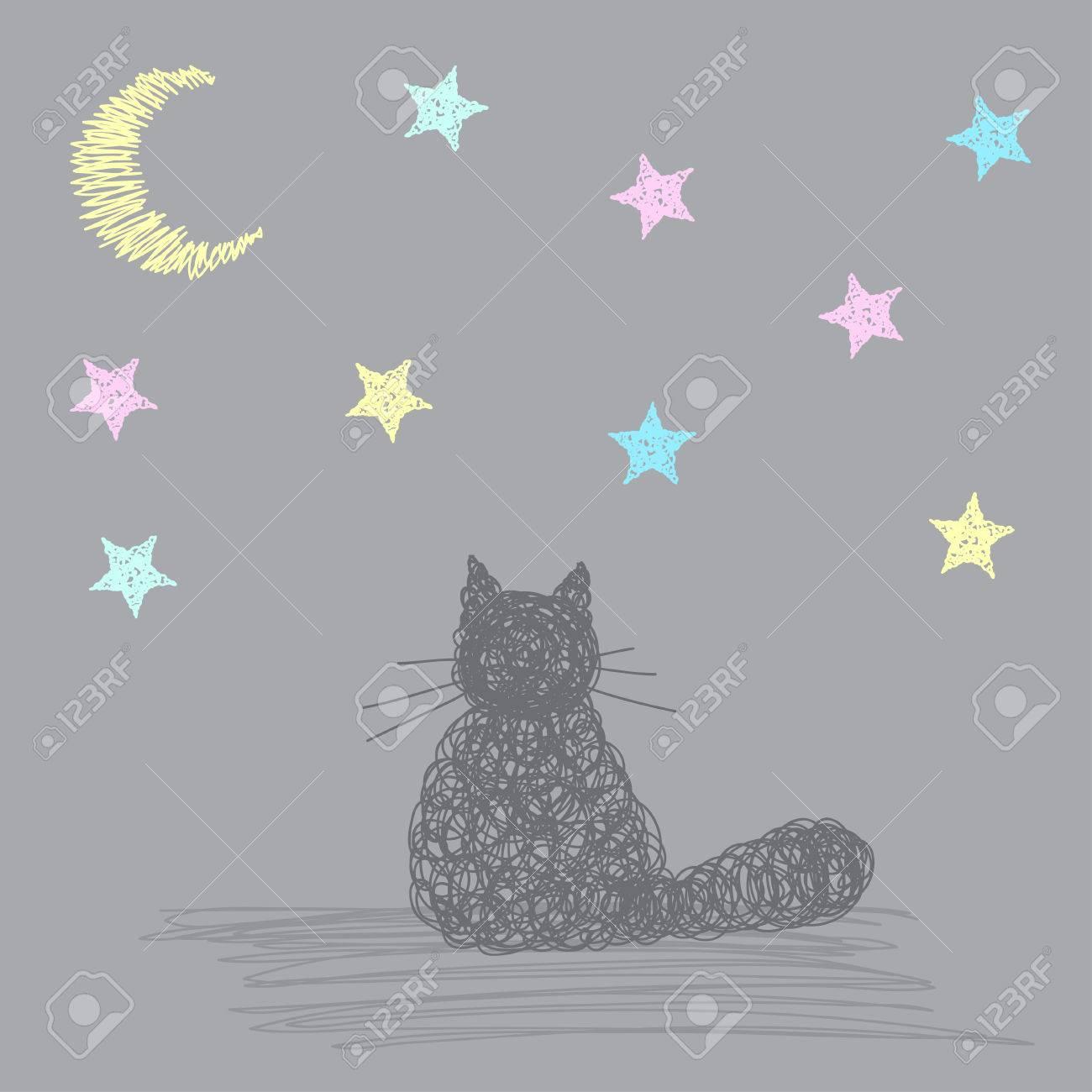 星と月と猫と手作りカードの背景テンプレートを落書き 手には シンプル
