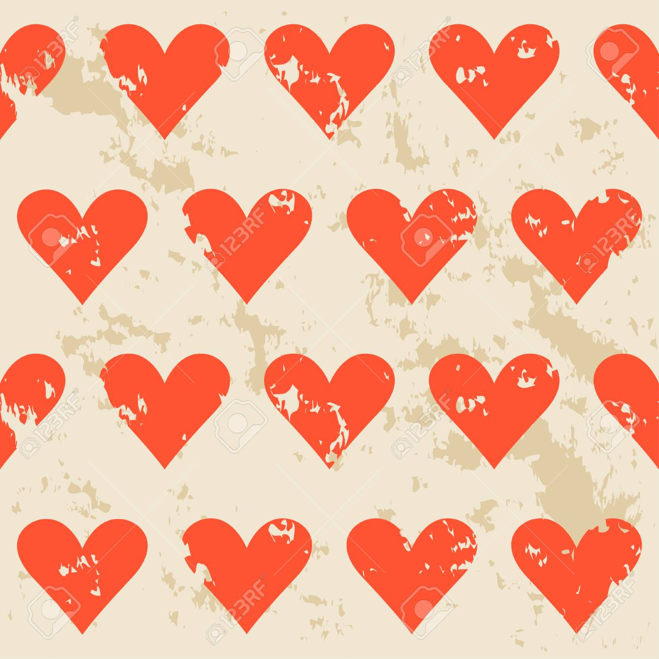 Vintage Hearts Seamless Pattern Background. Love, Valentine\'s ...