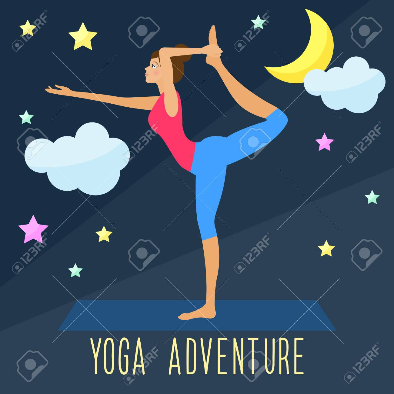 Yoga Adventure Theme Trendy Flat Style Template For Use In