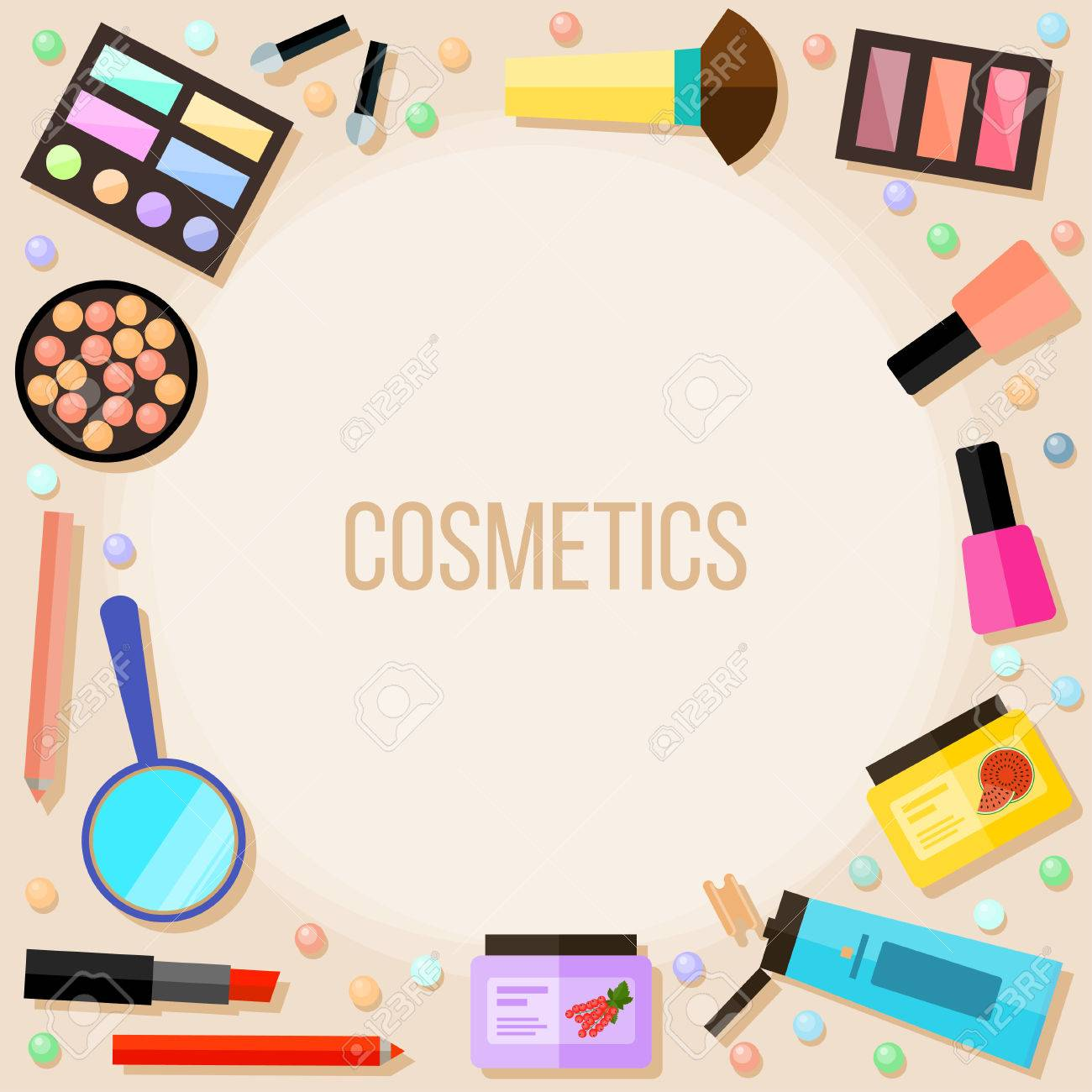 Bright Cartoon Cosmetic Product Isolated On Beige Cosmetic And Royalty Free Cliparts Vectors And Stock Illustration Image 65611194
