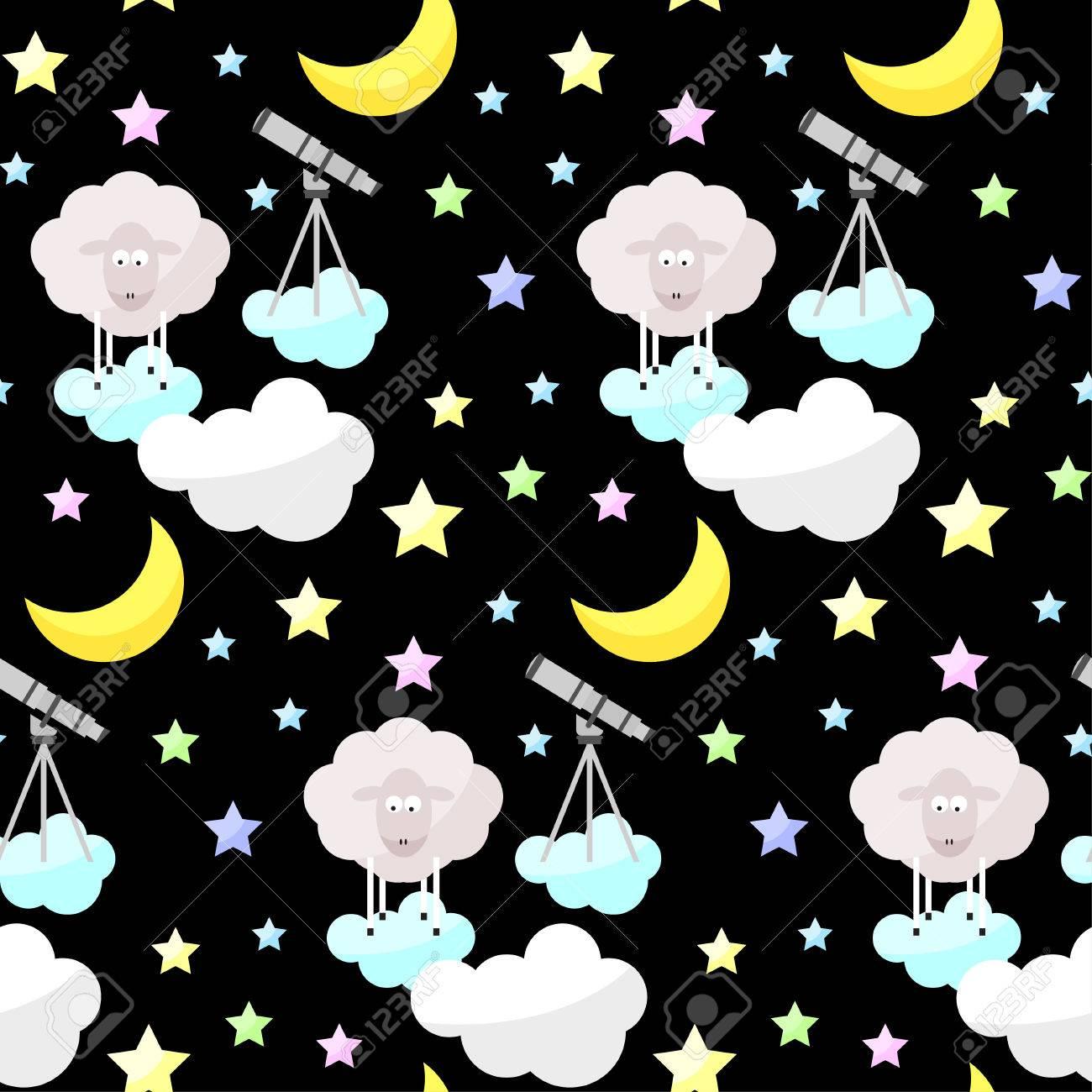 Childish Buona Notte Luminosa Vettoriale Divertente Senza Soluzione Di Continuità Di Fondo Del Modello Luna Del Fumetto Nube Stella Pecore