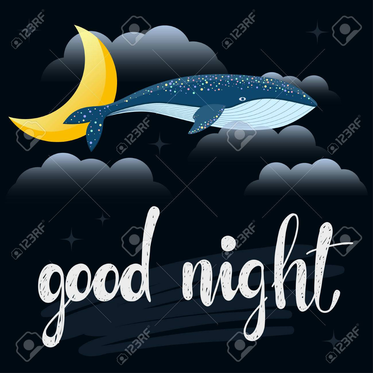 Good Night Card Template Abstract Cartoon Whale Moon Amd Clouds