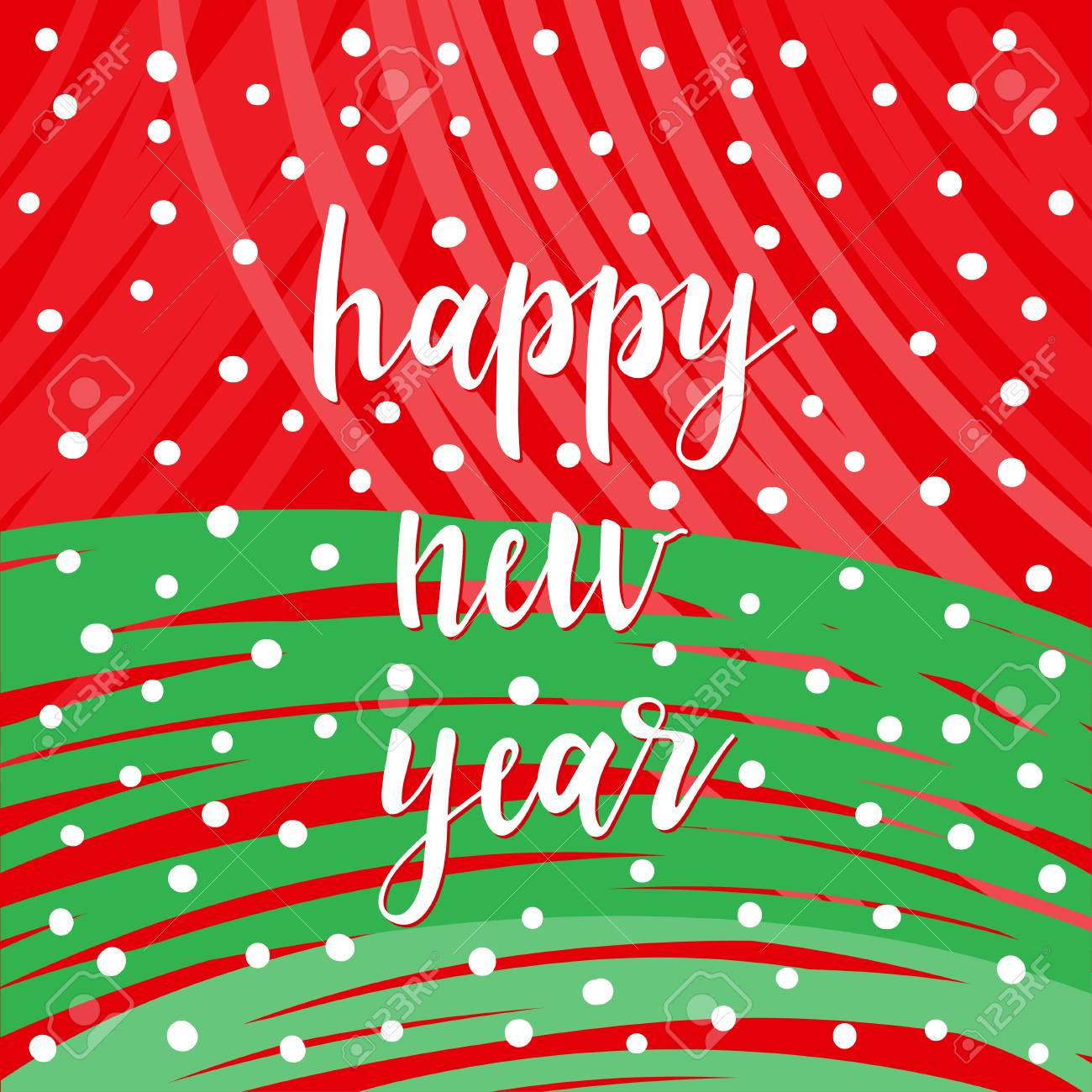 new year card template handwritten new year lettering and hand drawn snowflake on red and