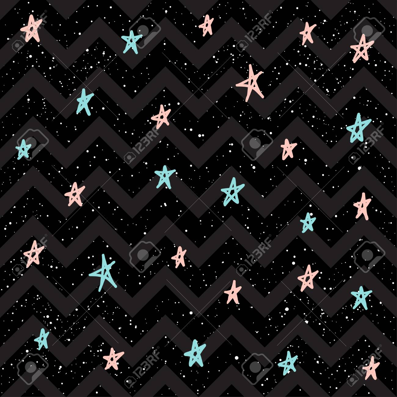 Pastel Star On Black Seamless Background Pink White And Blue