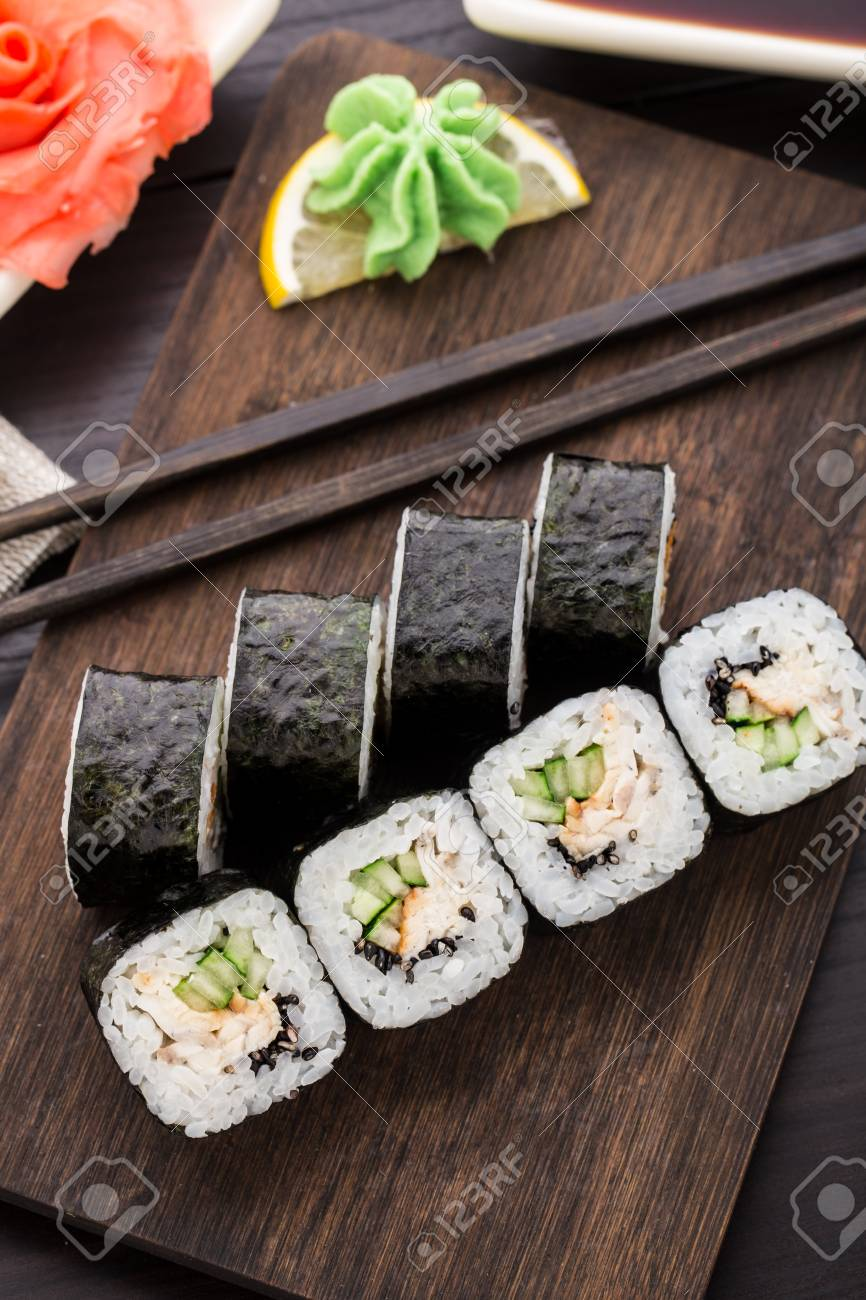Sushi Rolls With Eel Cucumber And Sesame Seed