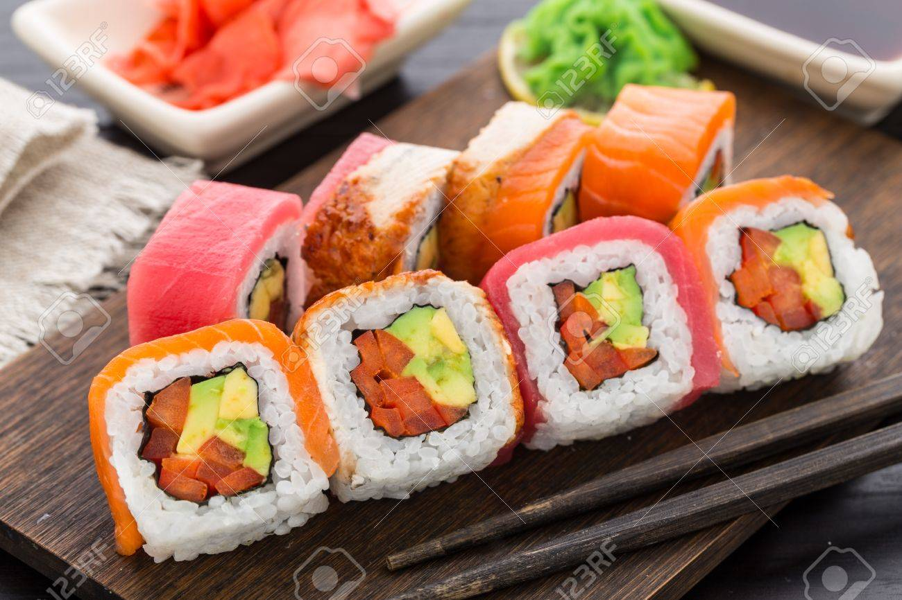 Rainbow Sushi Roll With Salmon Tuna And Eel Stock Photo Picture