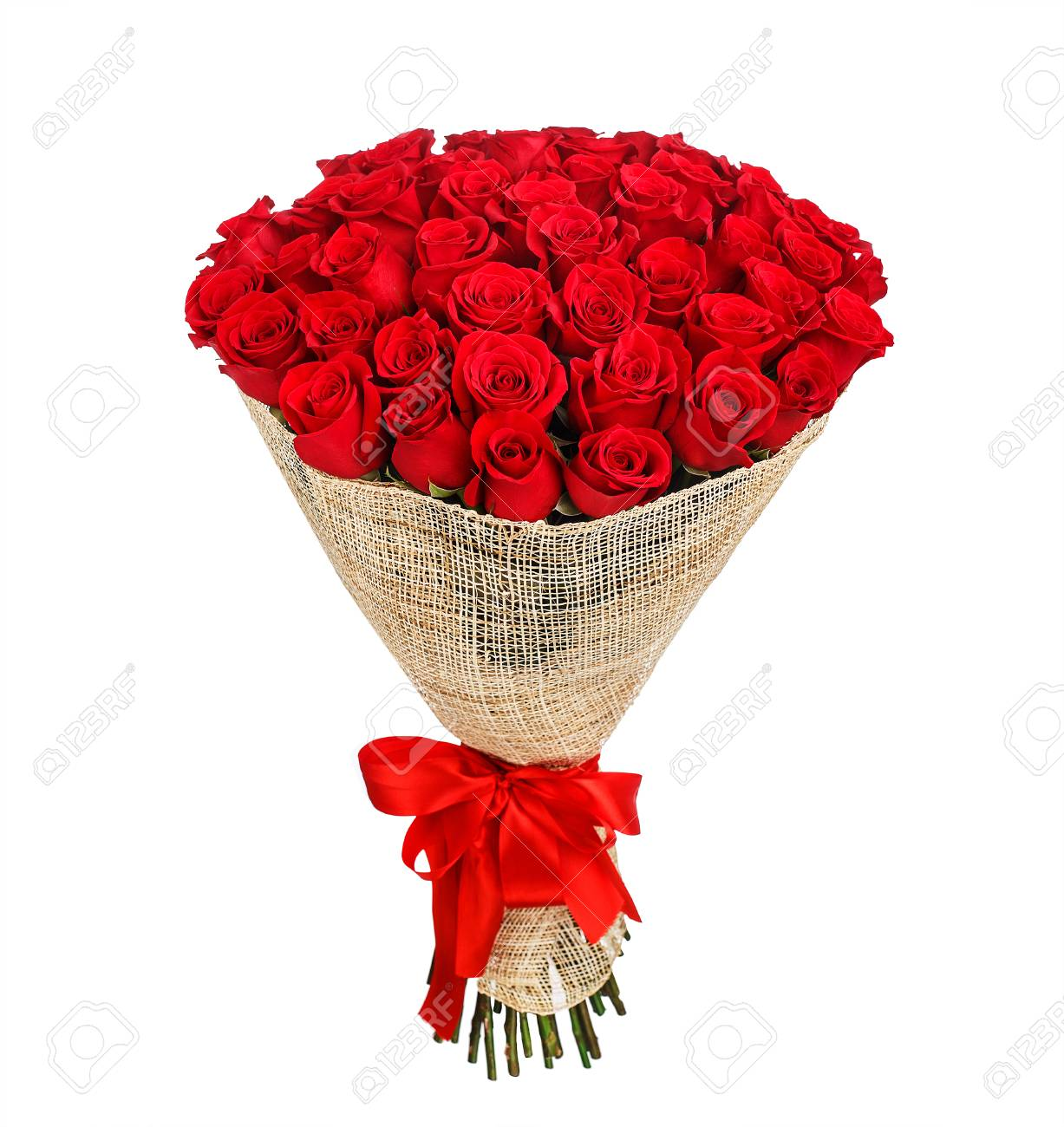 Flower Bouquet Of 50 Red Roses Stock Photo, Picture And Royalty Free ...