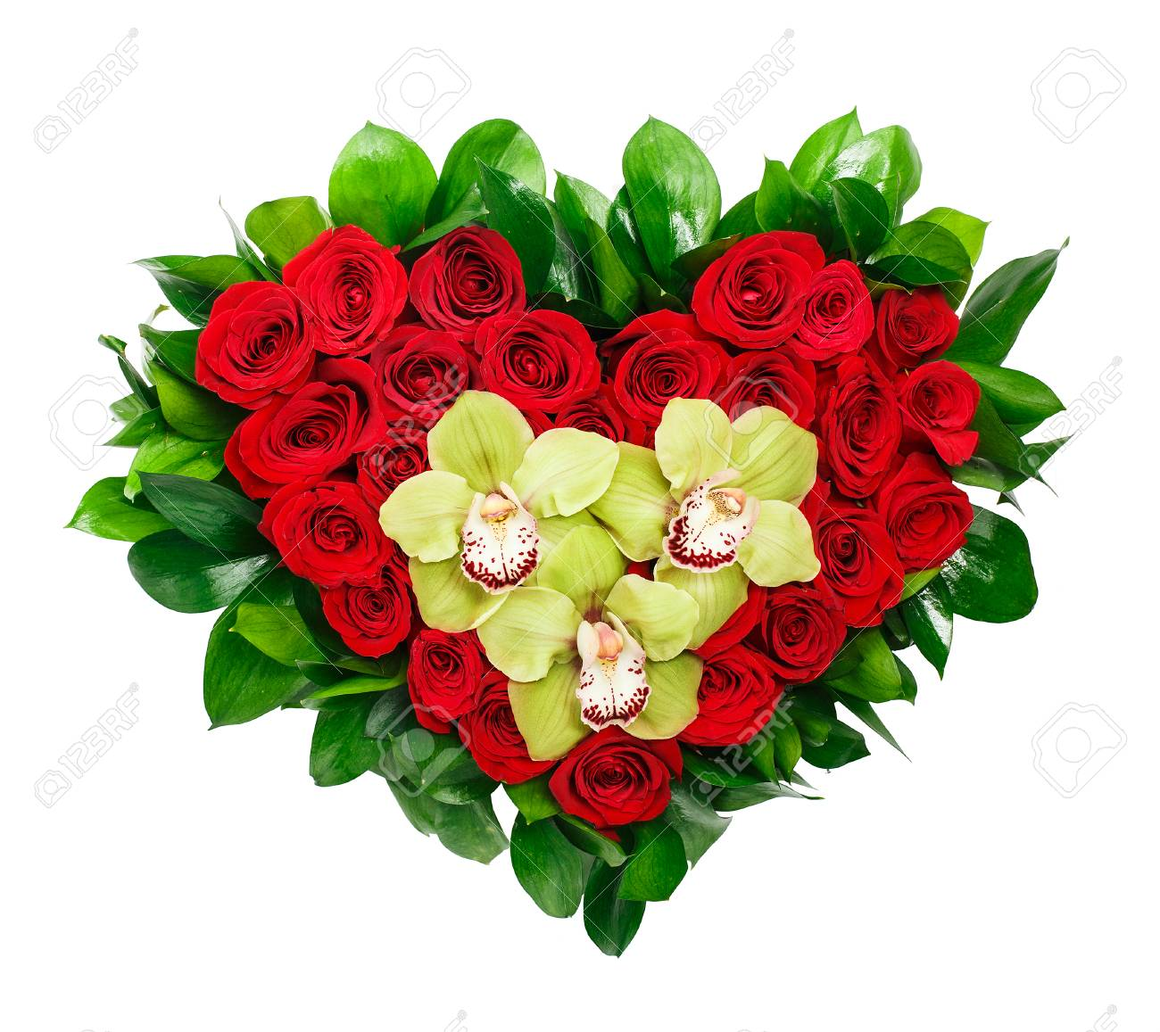 Heart Shaped Bouquet Of Red Roses And Orchids Stock Photo, Picture ...