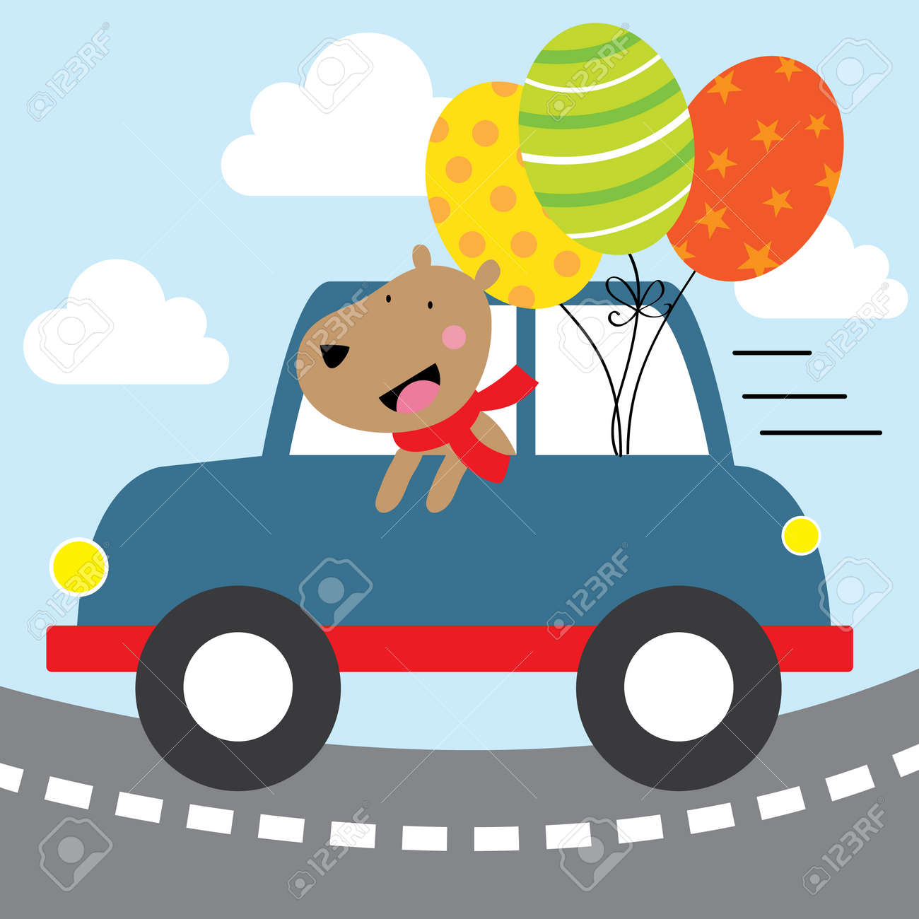 happy dog with blue car design - 168328390
