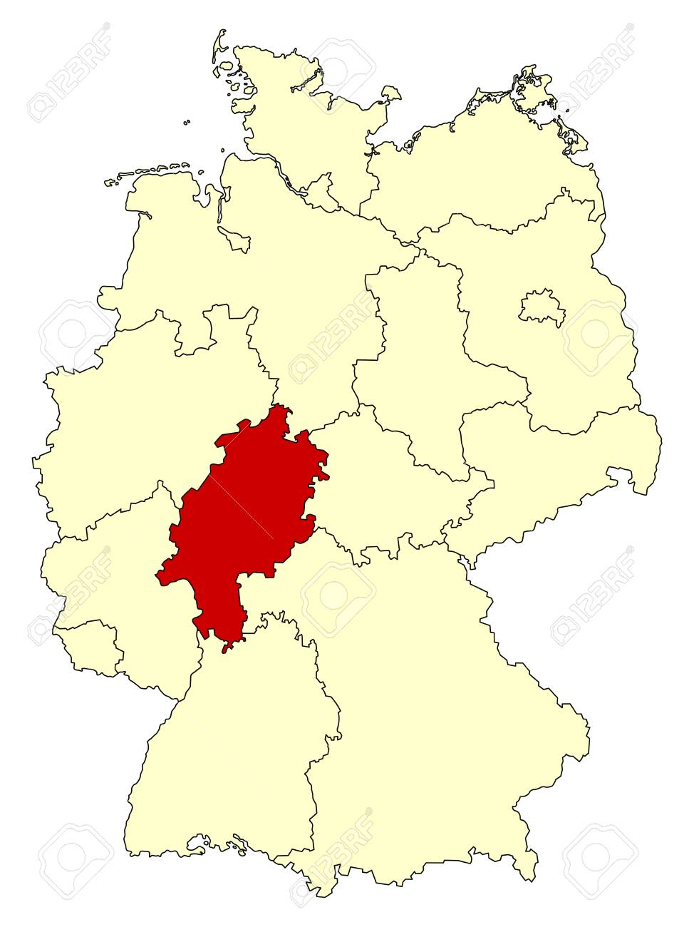 Germany Map Of States.Map Of Germany With Federal State Hesse