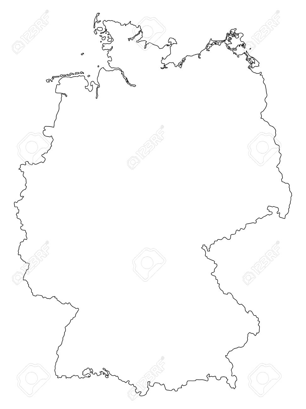 Outline Map Of Germany.Vector Germany Outline Map Isolated On White Background Royalty